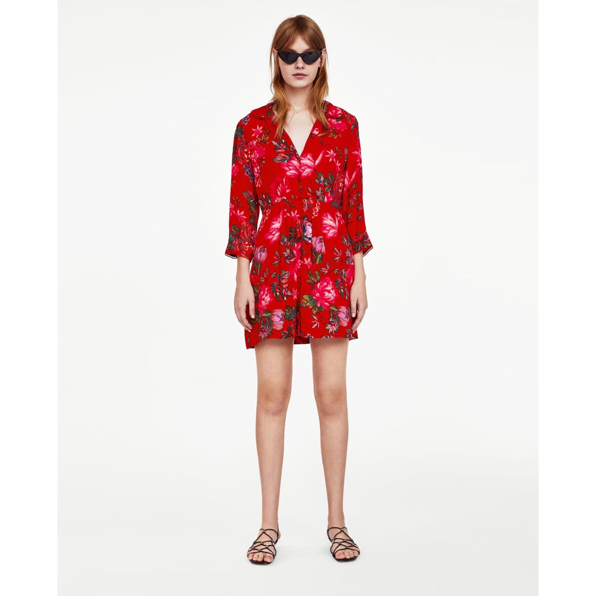 Robe Courte Zara 36 S T1 Rouge 7611200