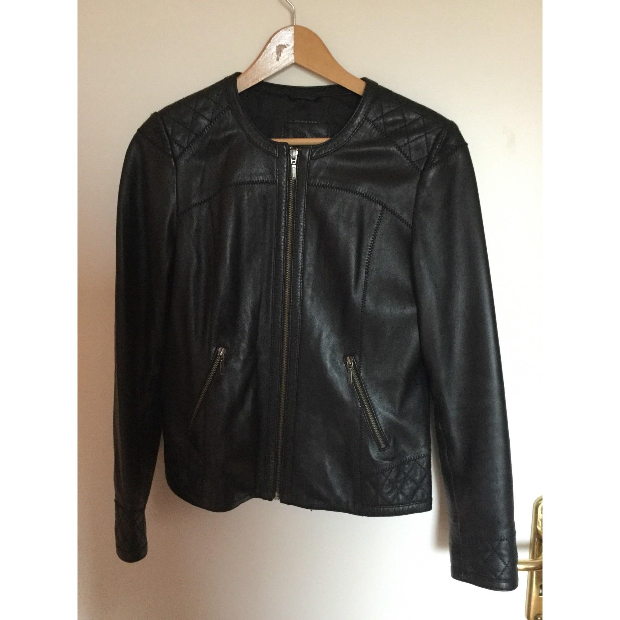 Veste en cuir CAROLL 40 (L, T3) noir vendu par Fabienne 1768 - 7620372 6b8d42078f8