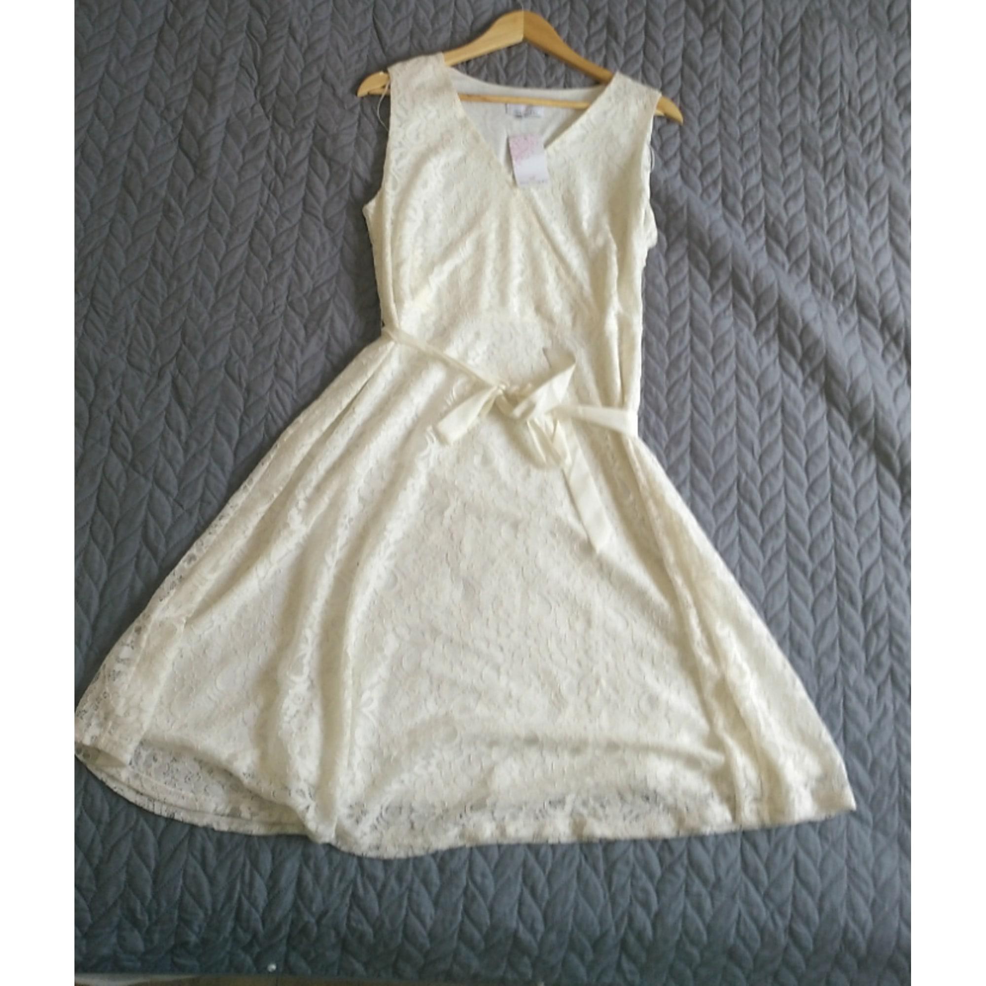 Robe courte JACQUELINE RIU Blanc, blanc cassé, écru