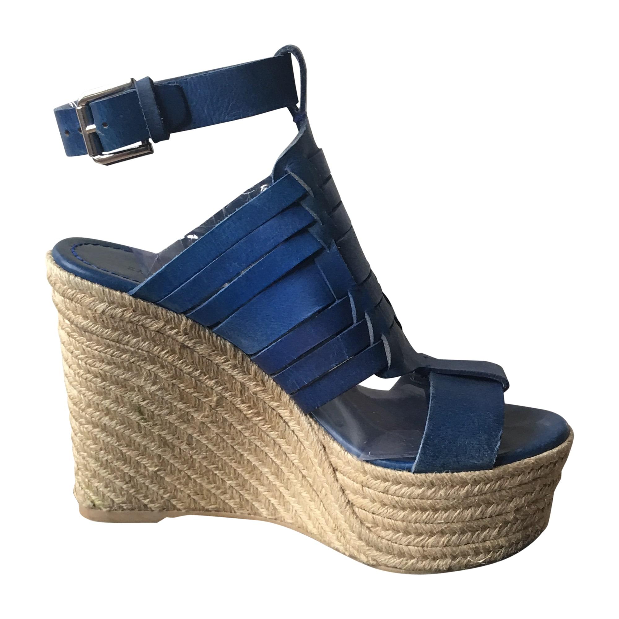 Sandales 39 Ralph Compensées Lauren Bleu 7649083 9IWEH2DY