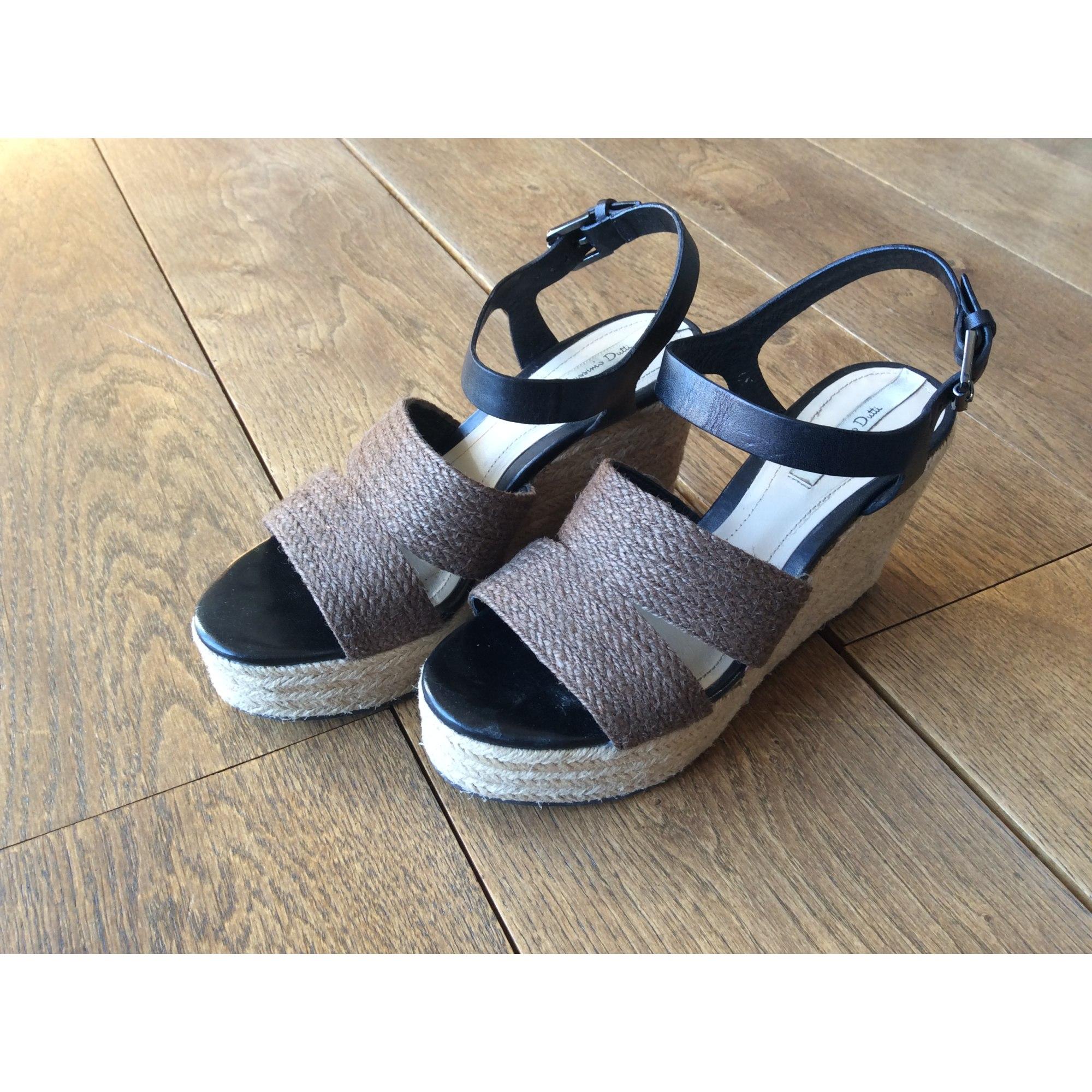 Sandales compensées MASSIMO DUTTI cuir noir 37 V5eXX9FNg