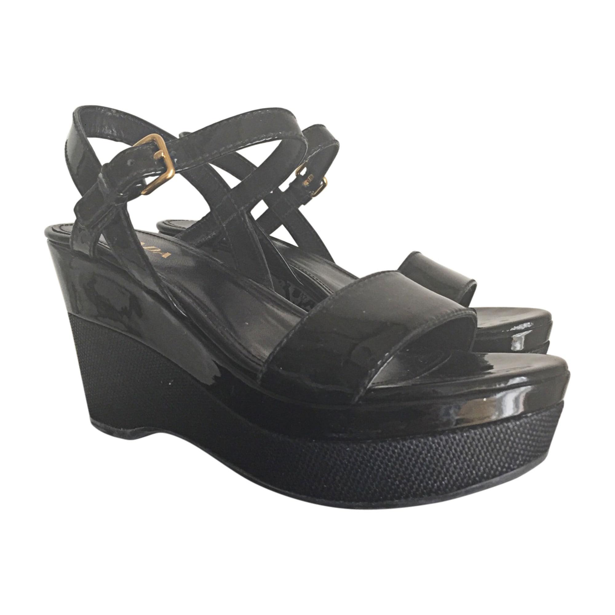 Sandales Prada 7694771 39 Noir Compensées wXXr1qY