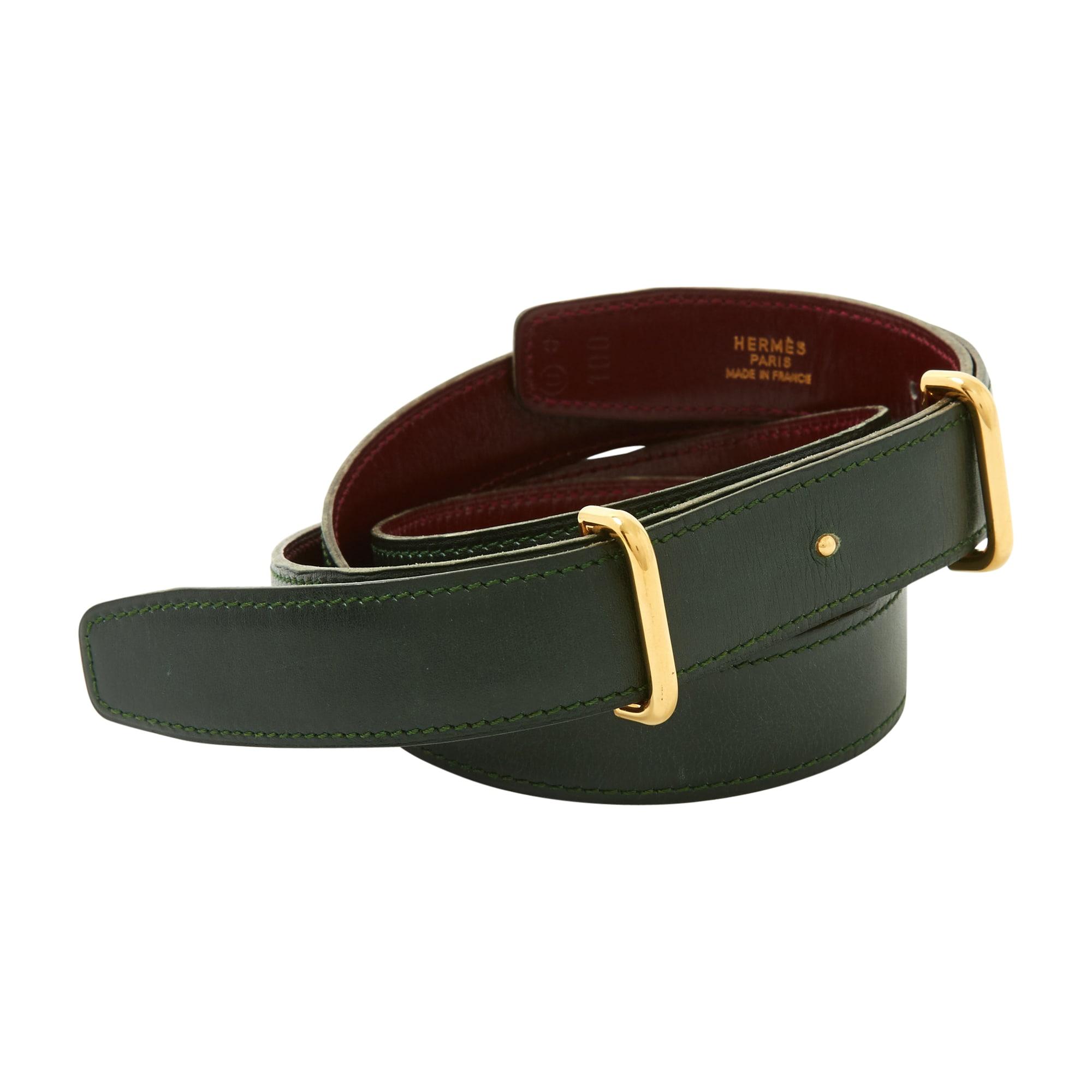 0dd9665ae4c Ceinture fine HERMÈS ceinture h 100 vert vendu par Larcher - 7700522