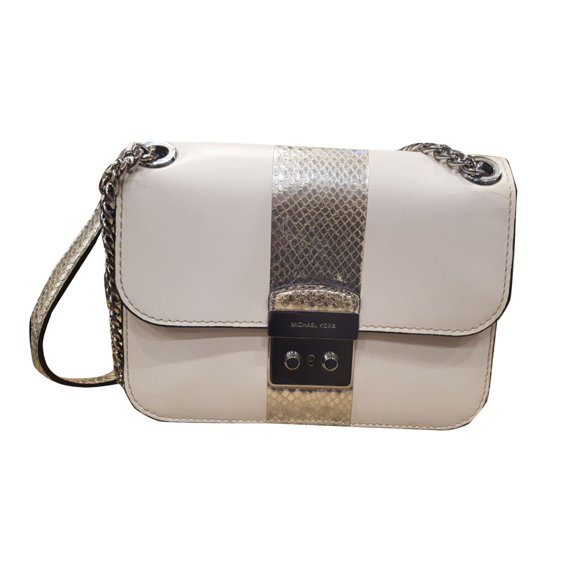 Leather Clutch MICHAEL KORS blanc et argent