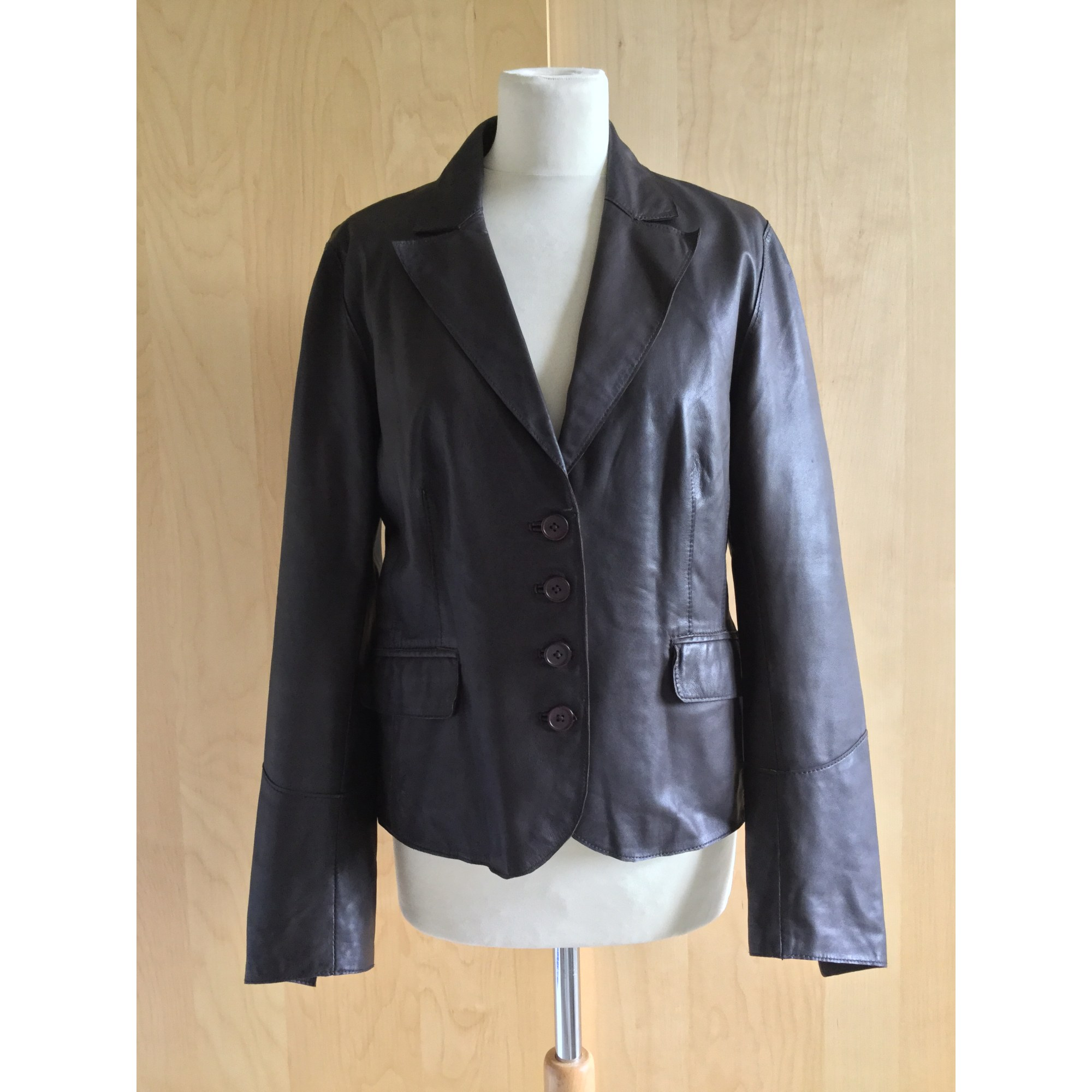 Veste en cuir CAROLL 40 (L, T3) marron vendu par Marie à tous ... c56a61baad3