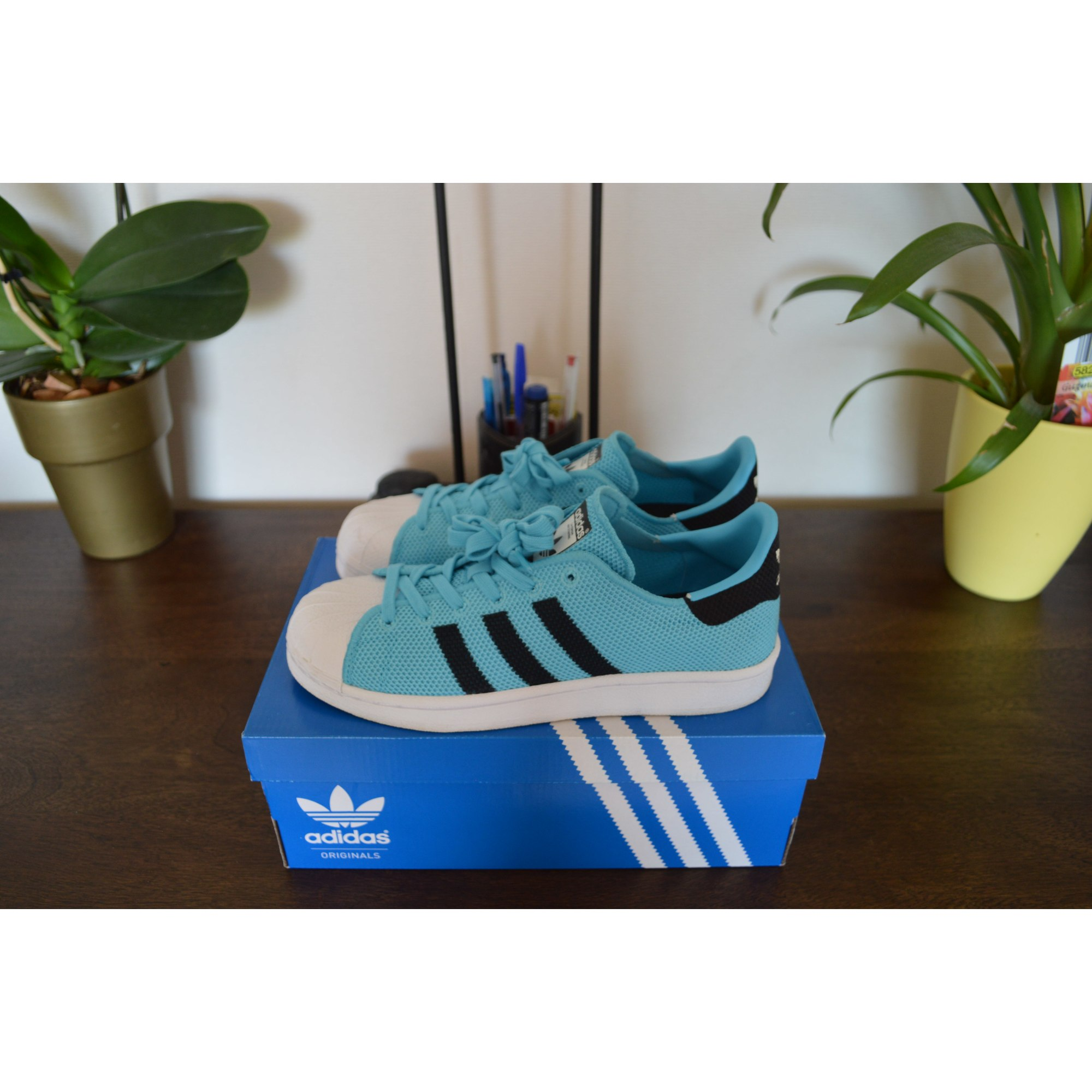 best website 1c89a 439fe Baskets ADIDAS Superstar Bleu, bleu marine, bleu turquoise