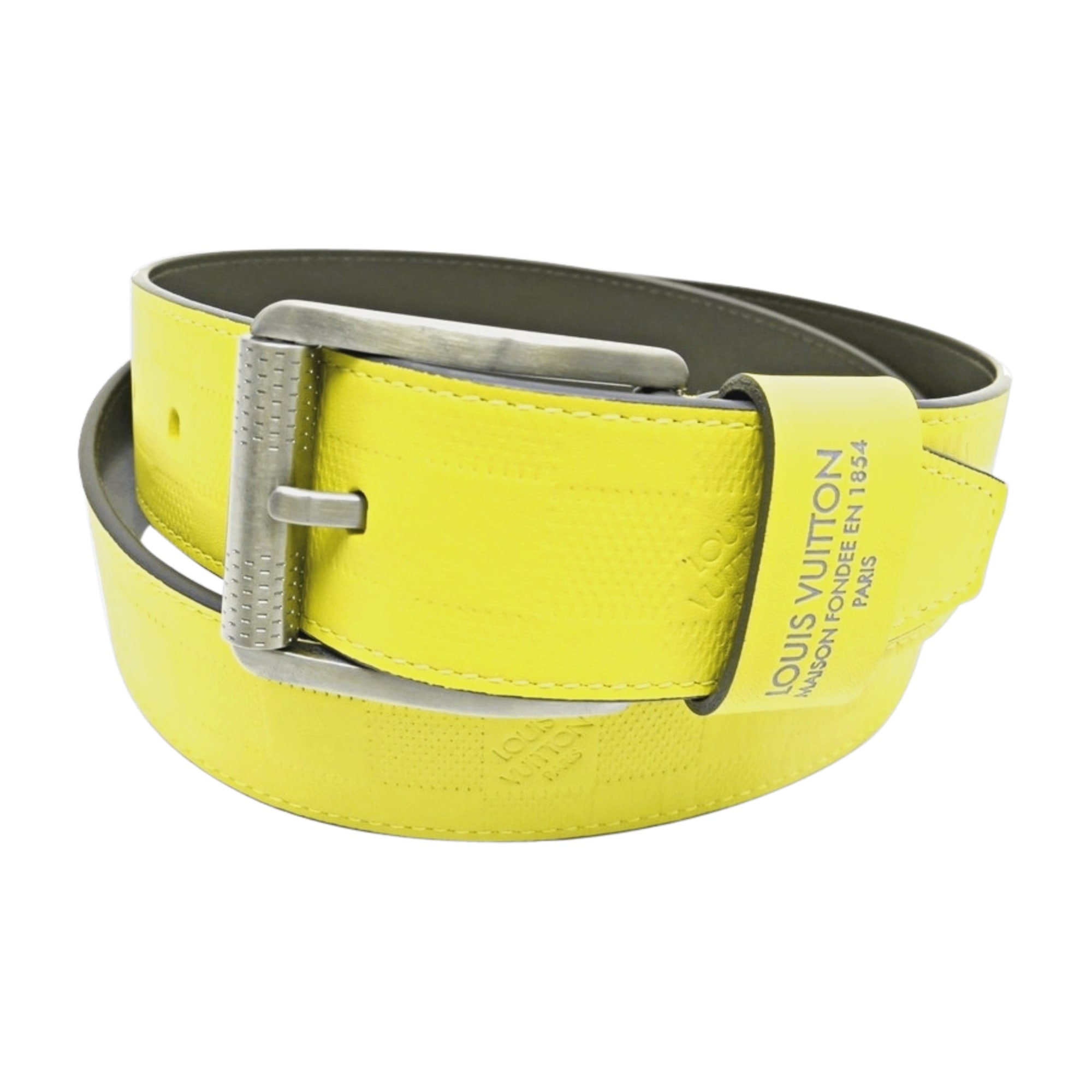 Ceinture LOUIS VUITTON 95 jaune vendu par Encherexpert - paris16 ... 88b6fb60fcc