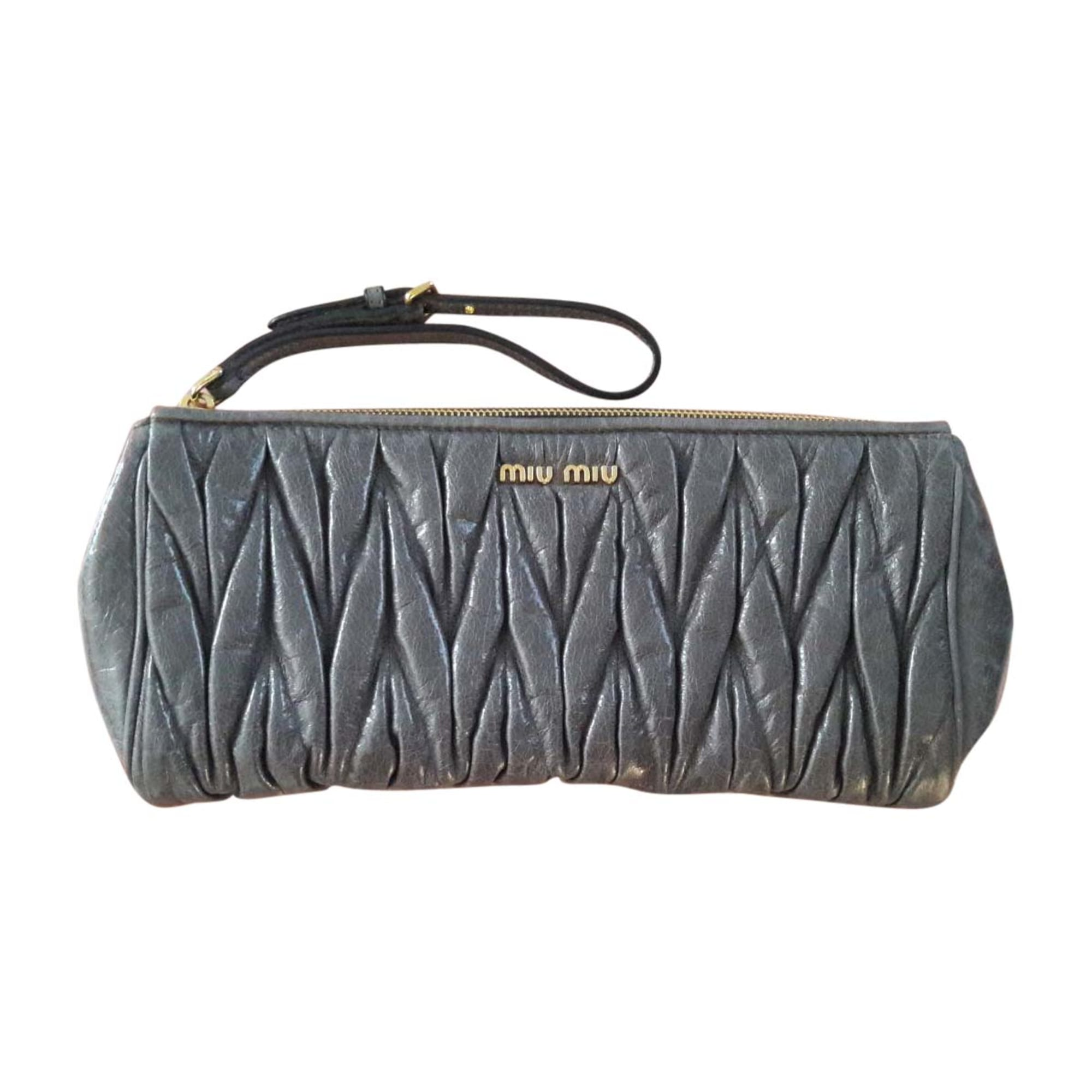 Leather Clutch MIU MIU Gray, charcoal