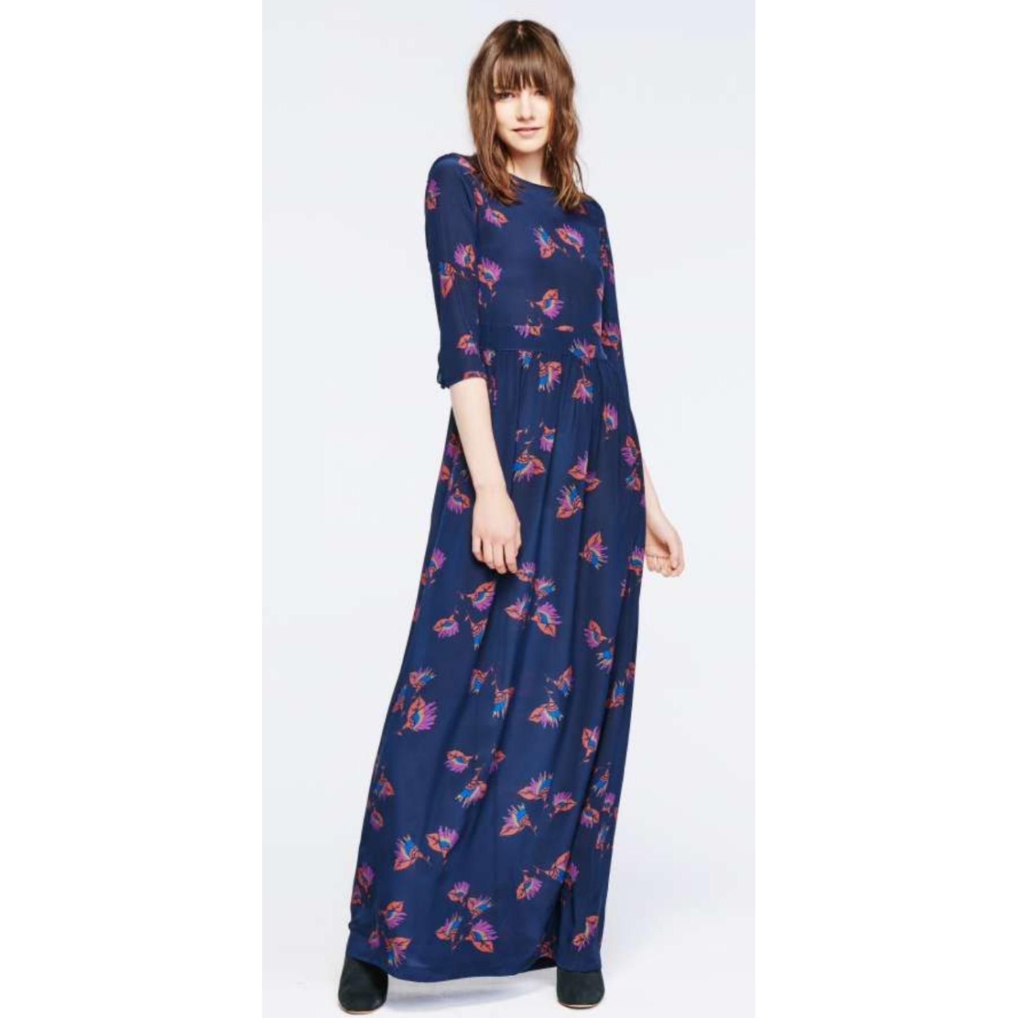 Robe longue Bash en soie bleue neuve