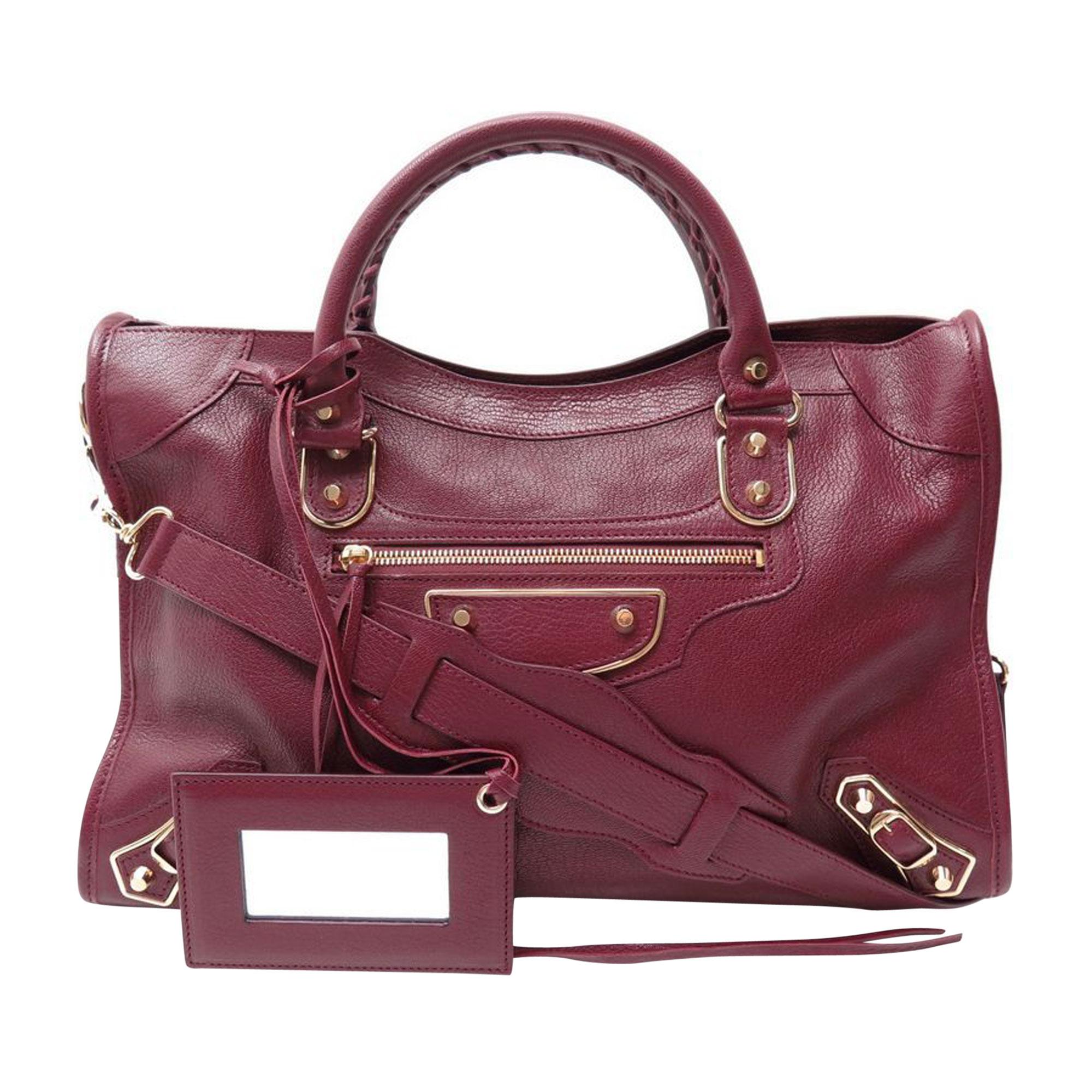 Leather Handbag BALENCIAGA Red, burgundy