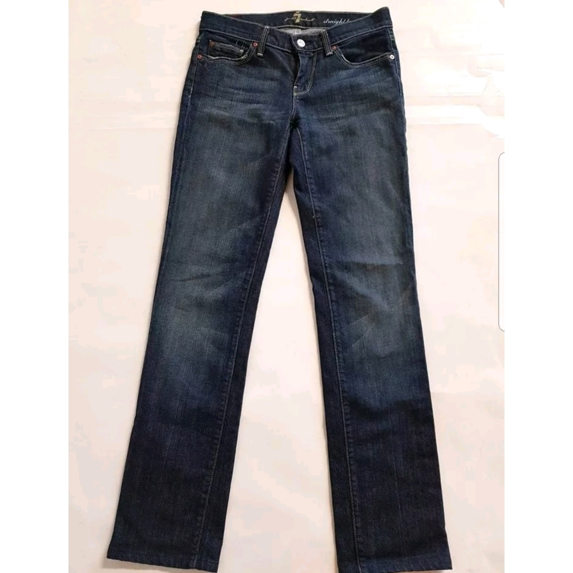 Pantalon slim, cigarette 7 FOR ALL MANKIND Bleu, bleu marine, bleu turquoise