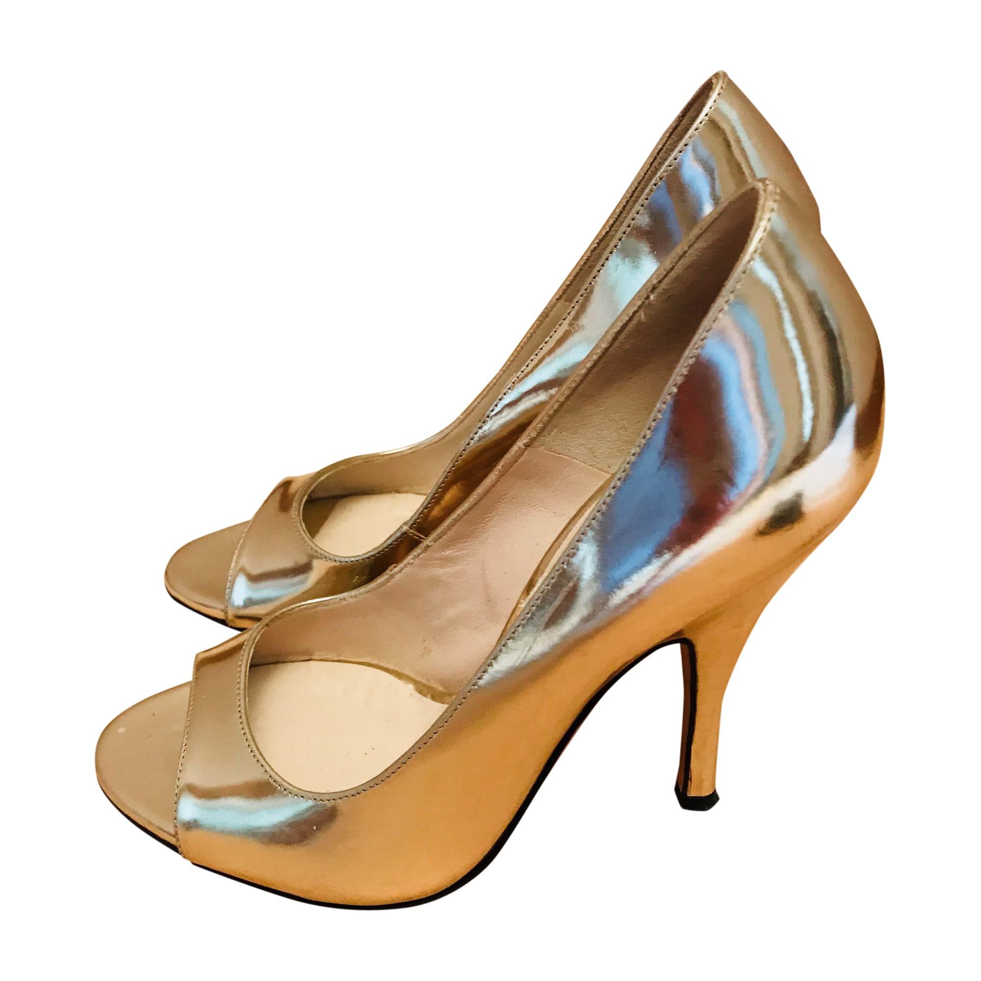 0757435df09809 Escarpins à bouts ouverts D&G Doré, bronze, cuivre