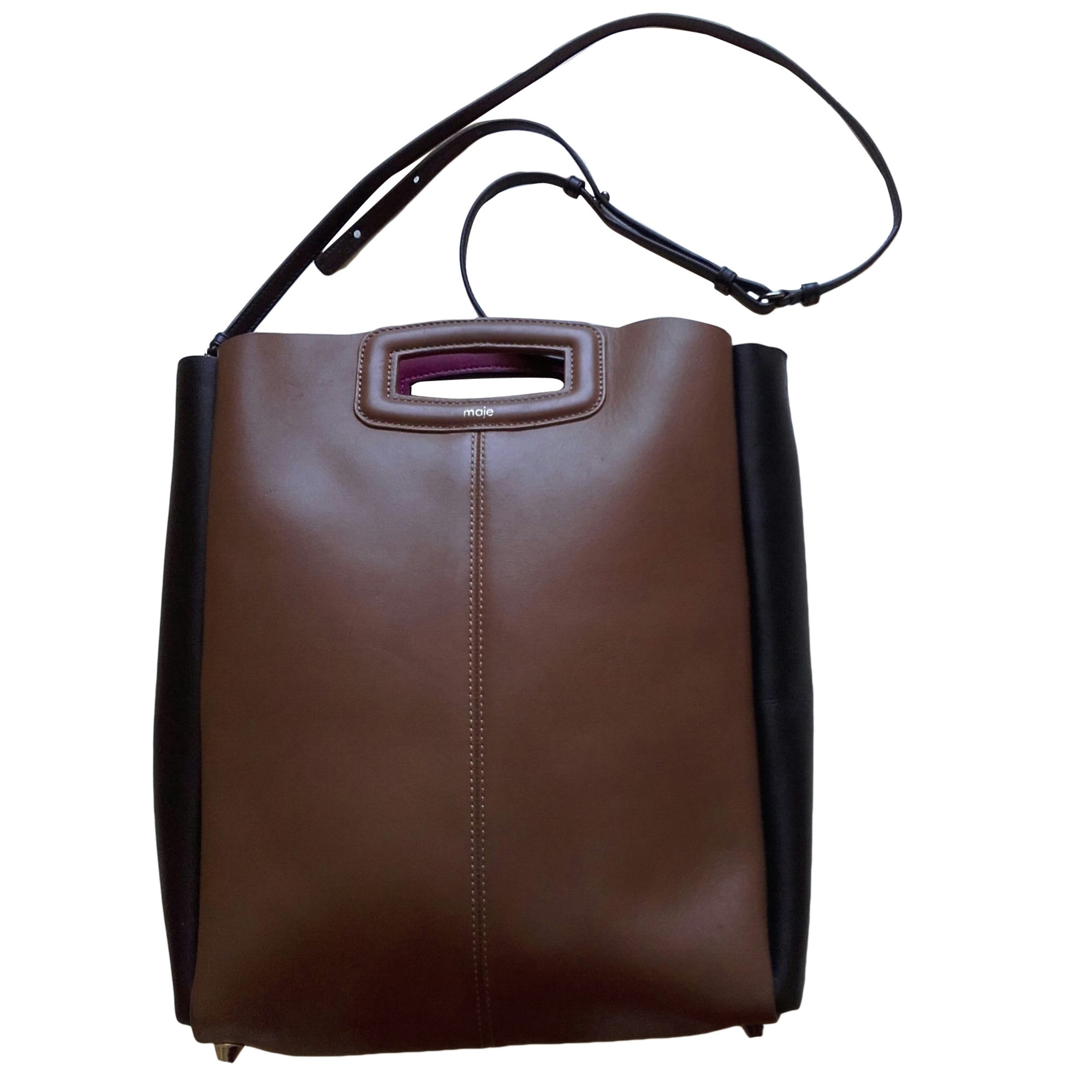 Leather Shoulder Bag MAJE bicolore, noir et marron