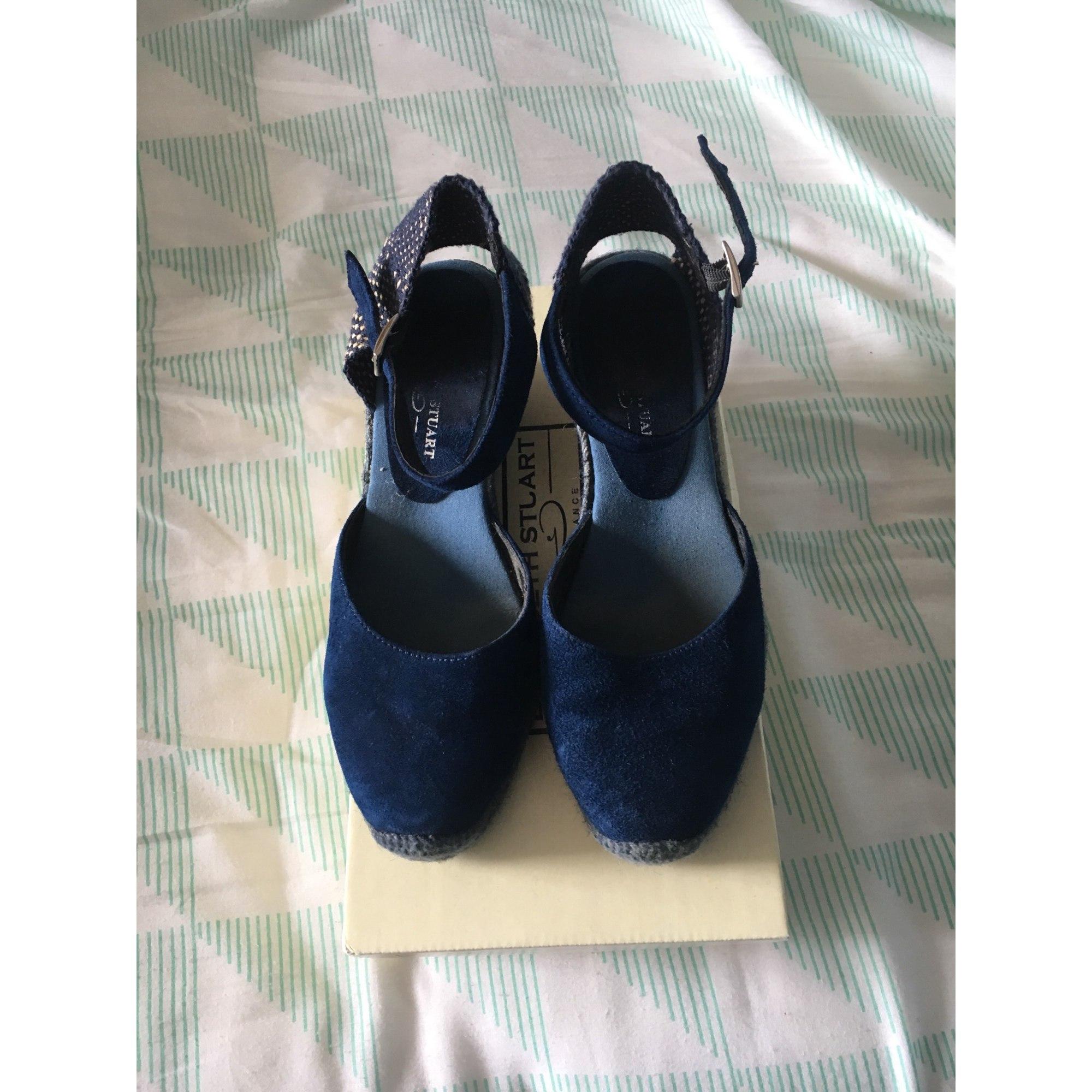 Sandales 37 Bleu Stuart Elizabeth 7844331 Compensées j54R3ALq