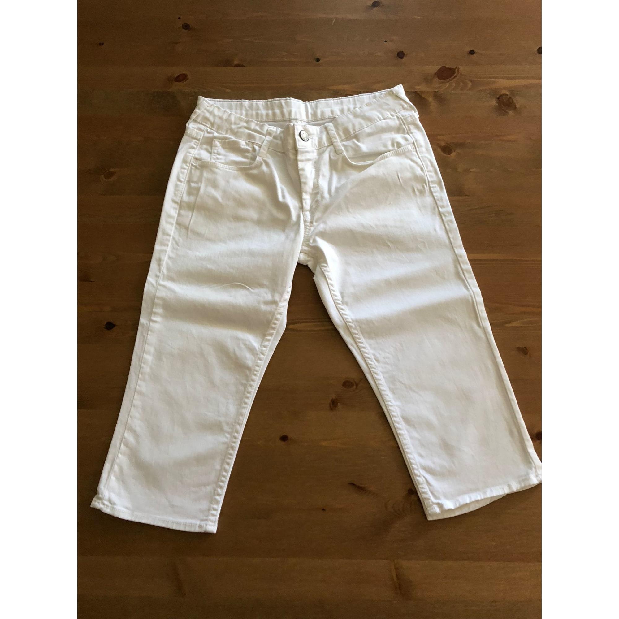 Pantacourt, corsaire LE TEMPS DES CERISES coton blanc 13-14 ans