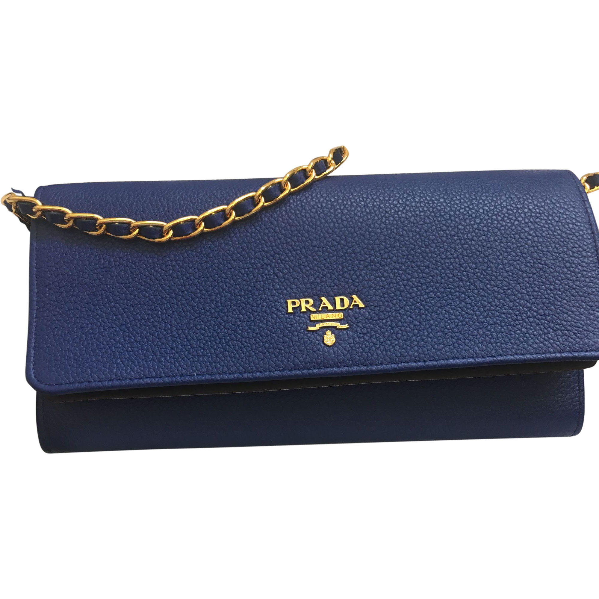 Sac pochette en cuir PRADA Bleu, bleu marine, bleu turquoise 1be0d9be941