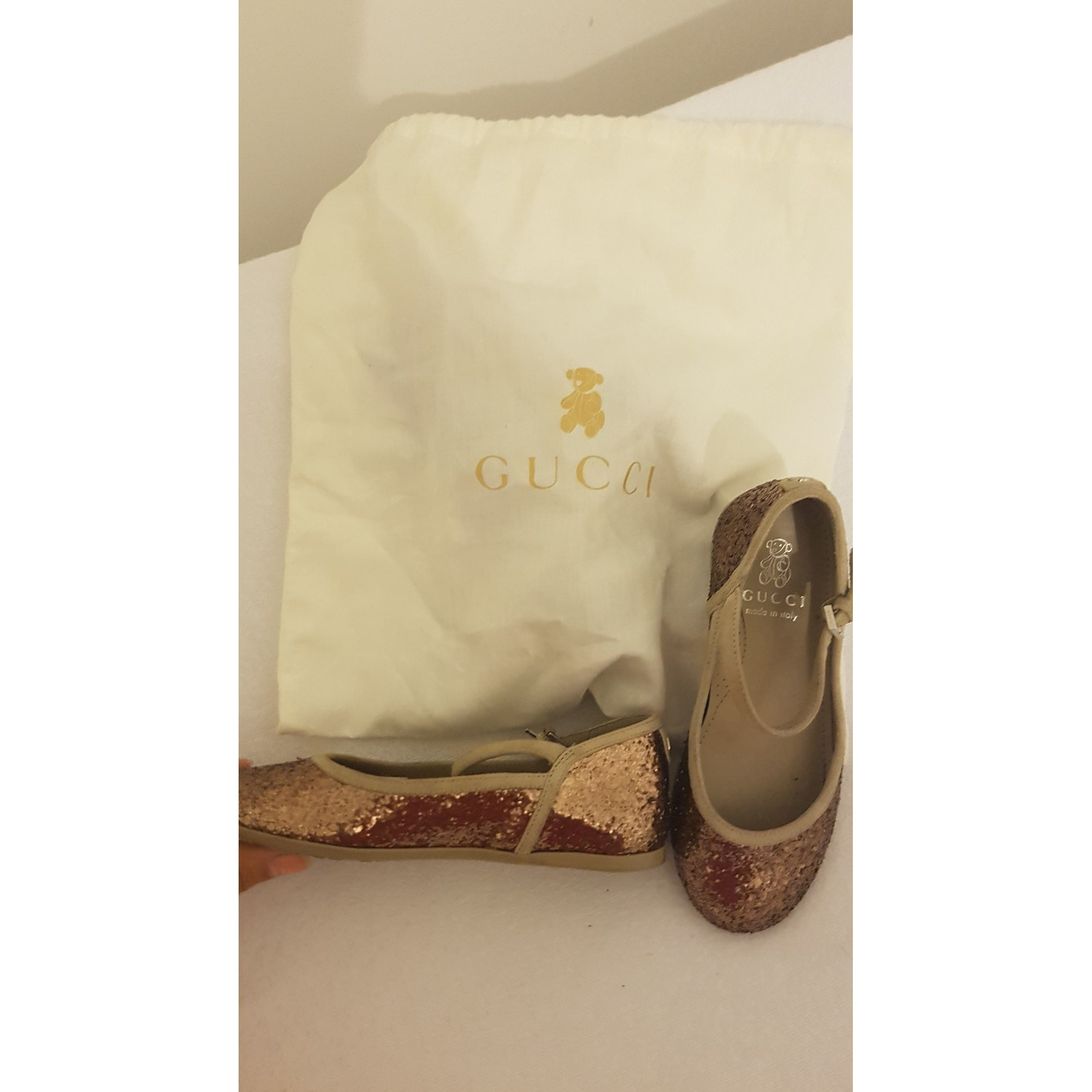 Ballet Flats GUCCI Golden, bronze, copper