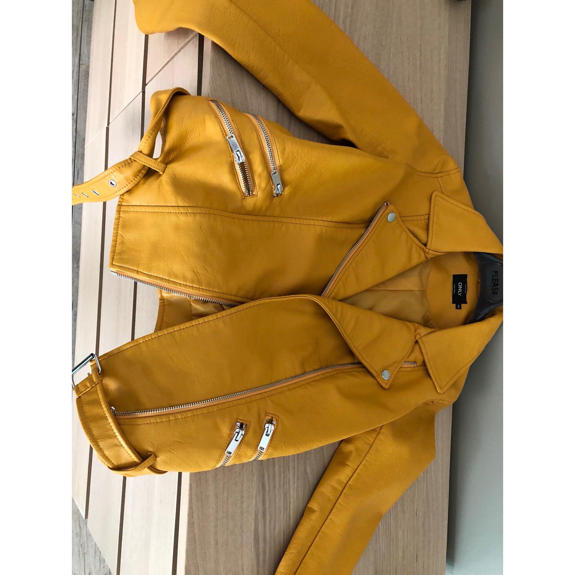 Veste en cuir ONLY 34 (XS, T0) jaune - 7880293 267a78db63c2
