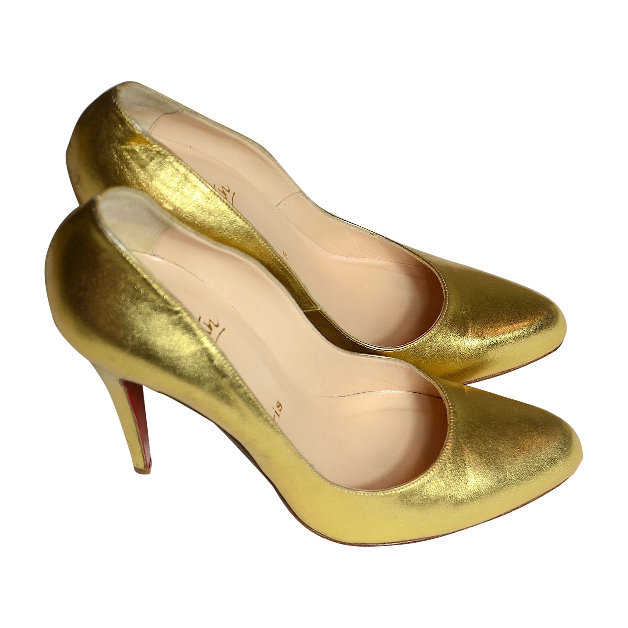 escarpins louboutin doré