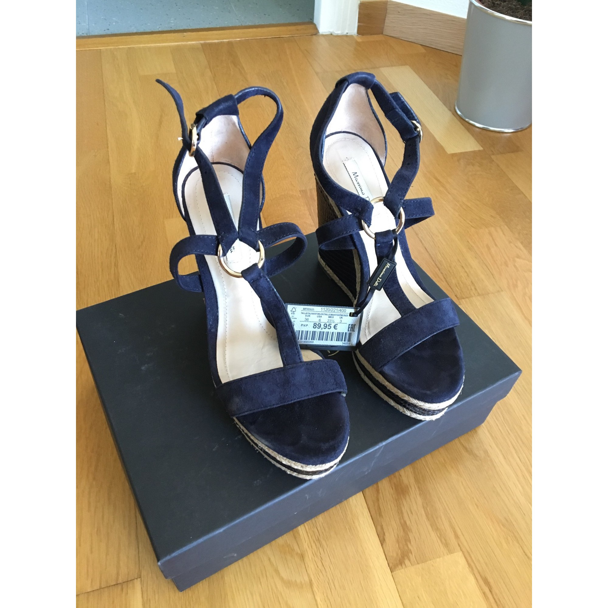 1bcf49c4b4661a Sandales compensées MASSIMO DUTTI Bleu, bleu marine, bleu turquoise