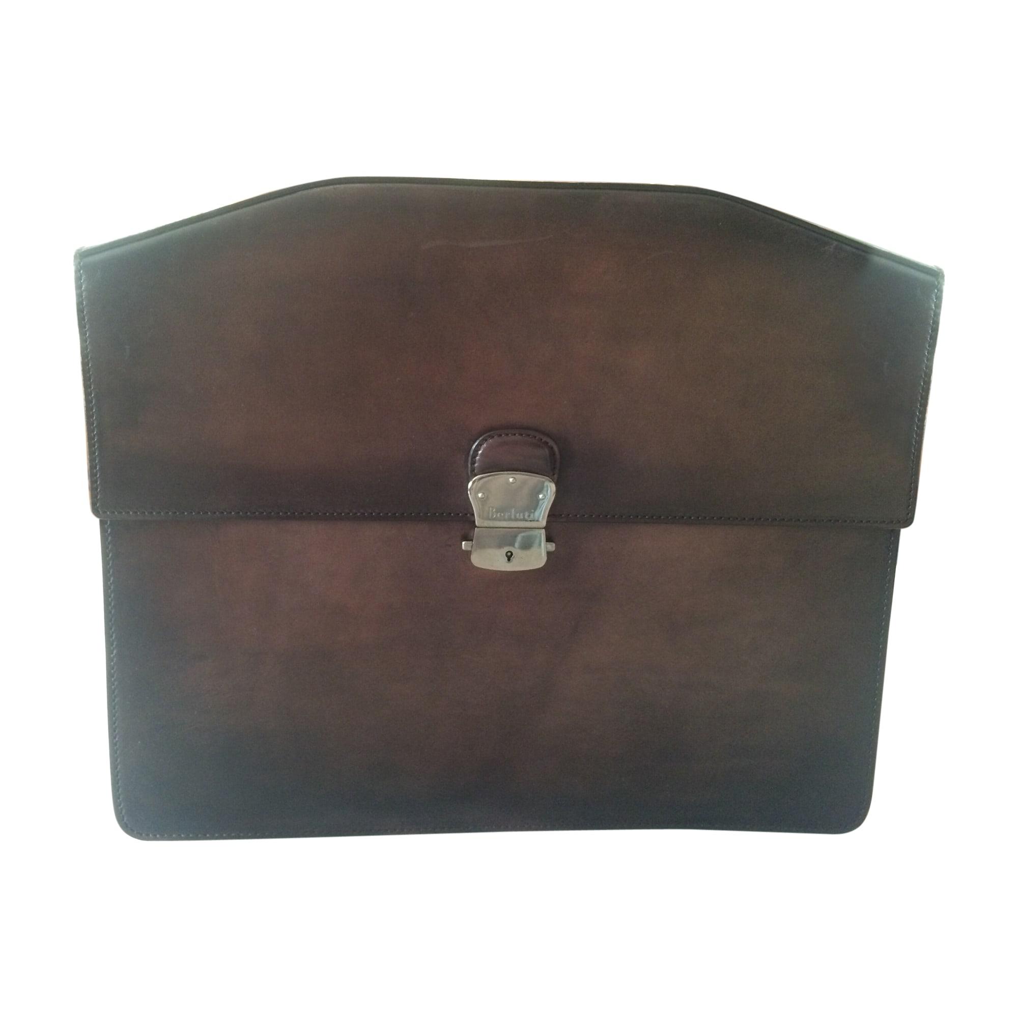 Porte document, serviette BERLUTI cuir marron