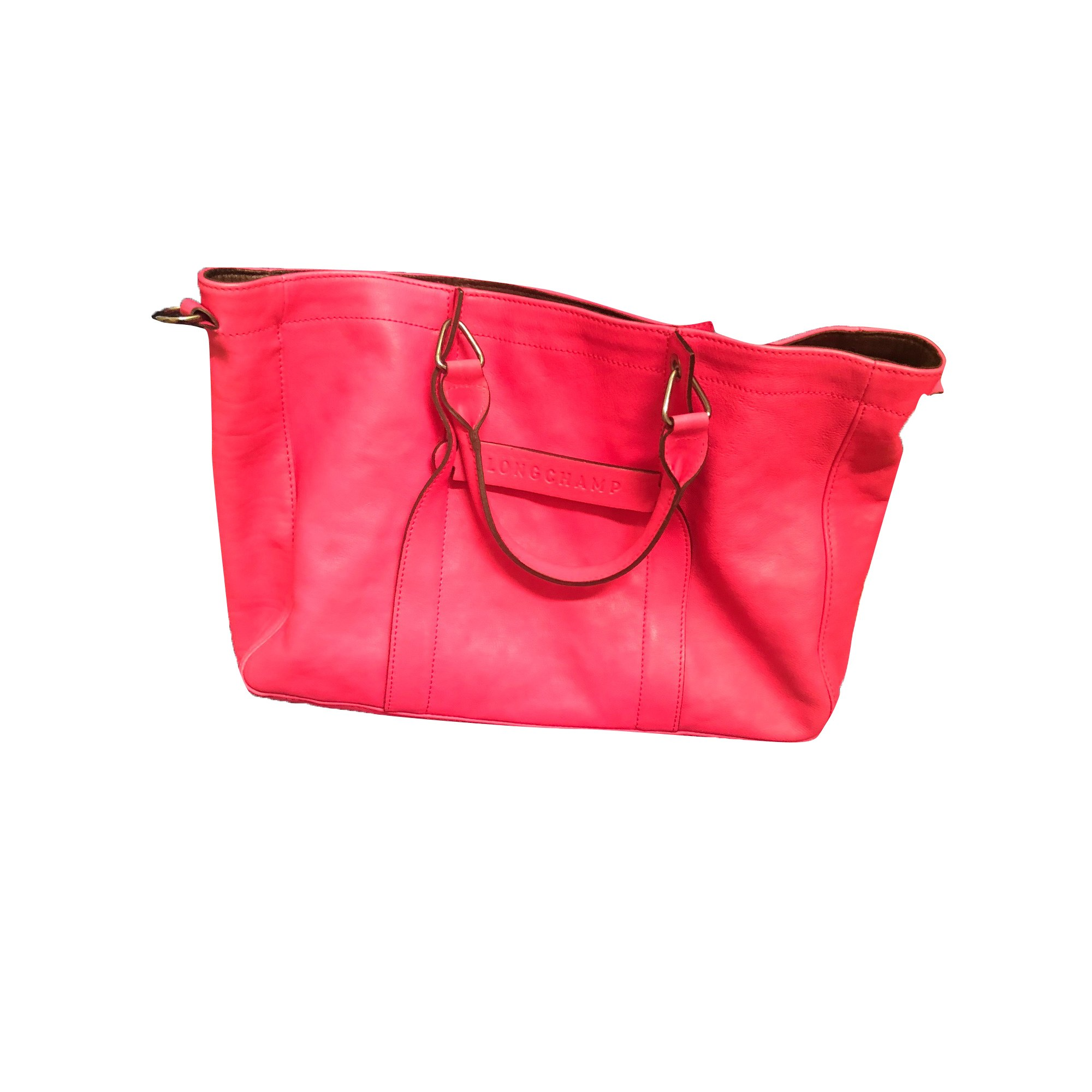 Rose Main Vieux À Cuir Longchamp Rose Sac En Fuschia wv87TH