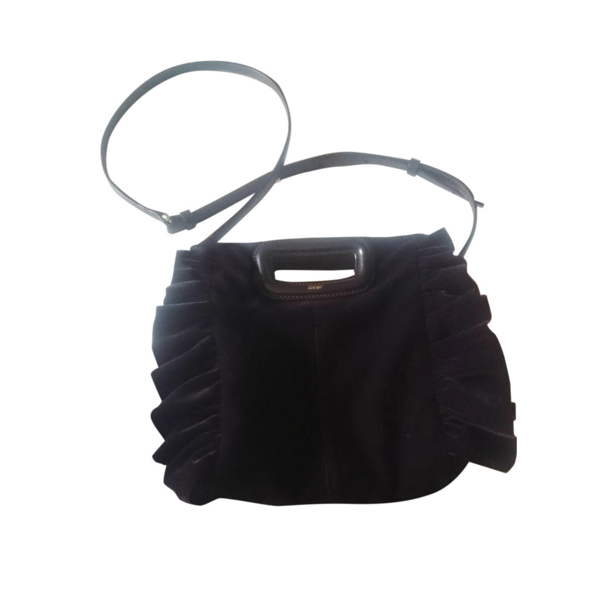 Leather Shoulder Bag MAJE Purple, mauve, lavender
