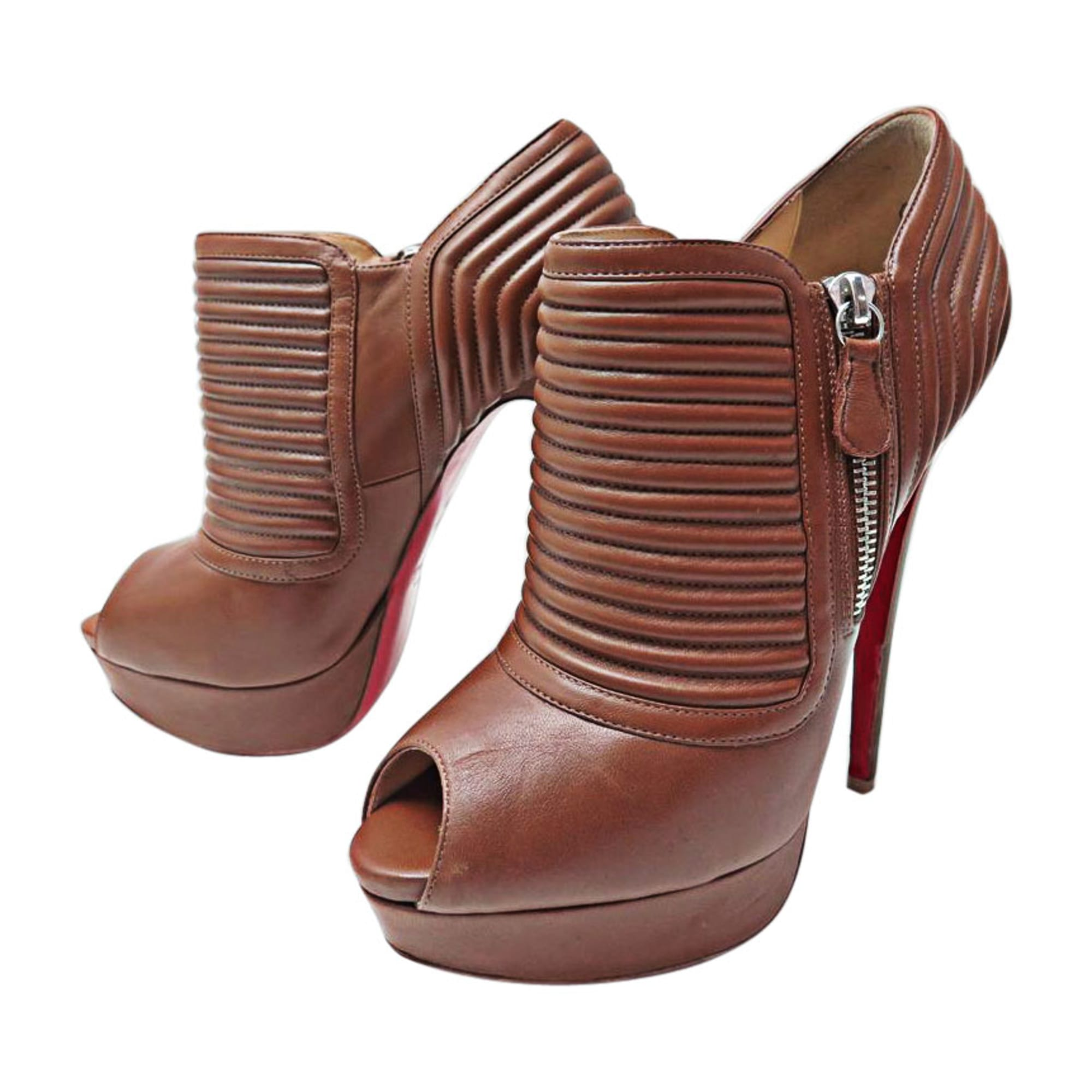 bottine louboutin marron
