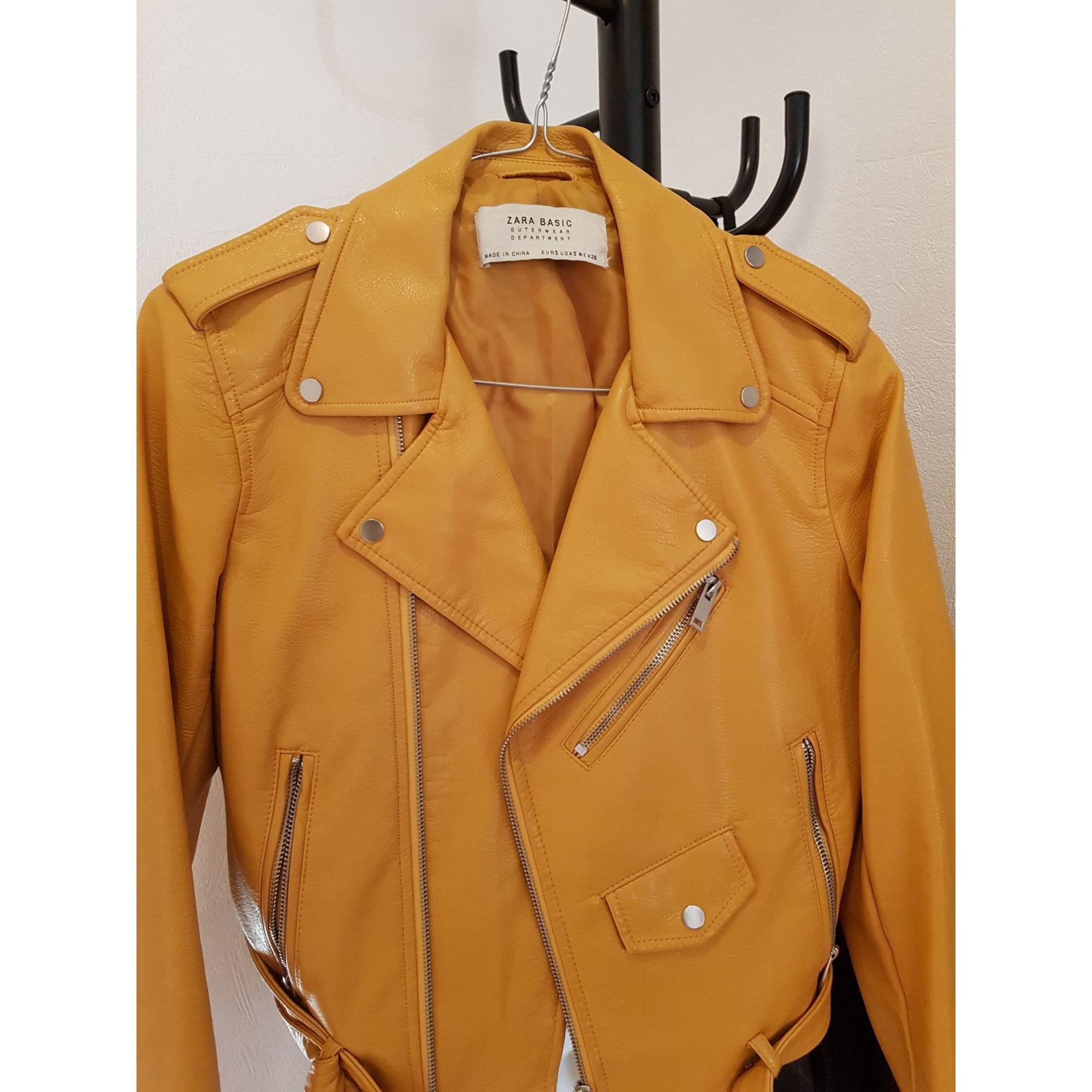 Zara basic veste cuir jaune