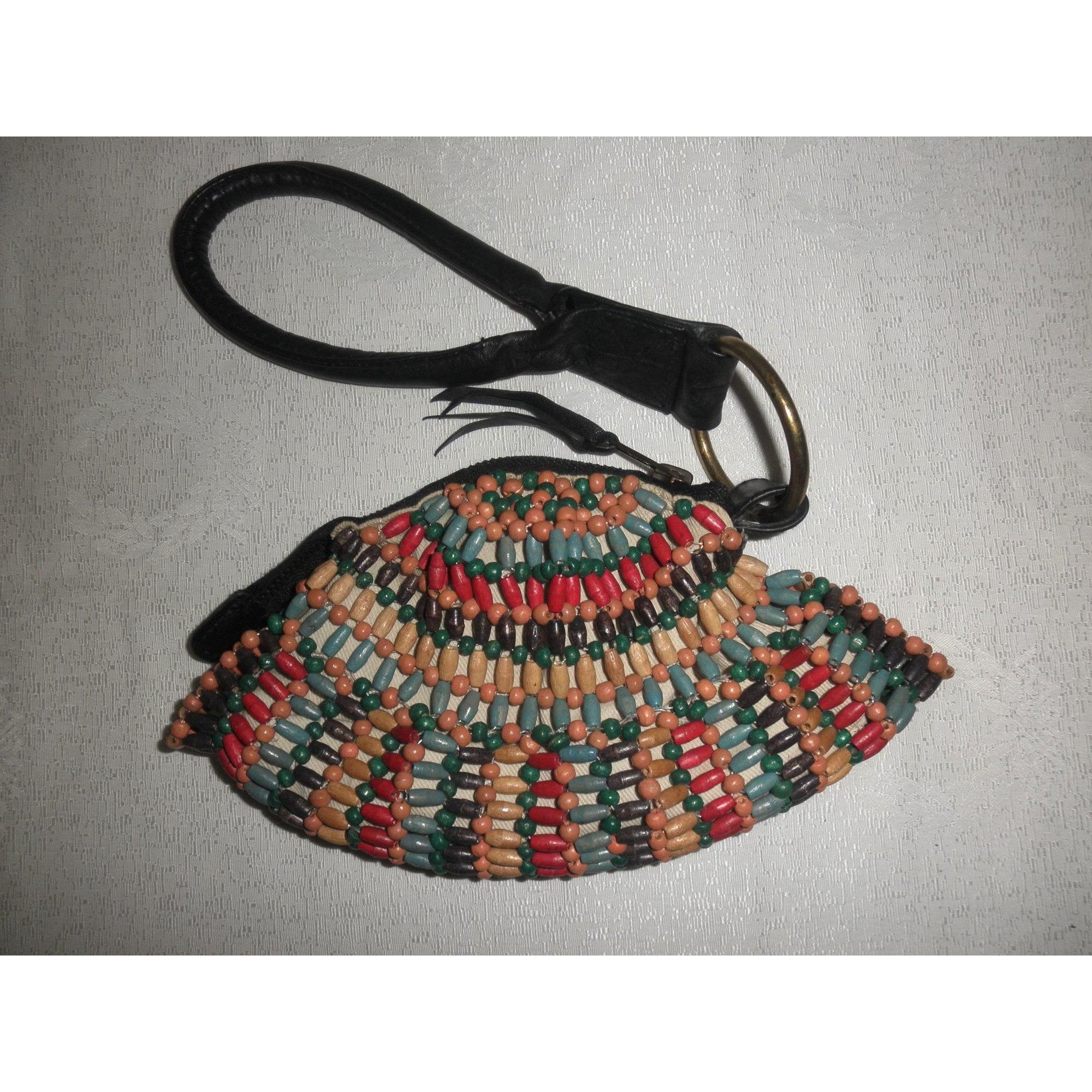 Pochette CACHAREL cuir & perles de bois multicolore