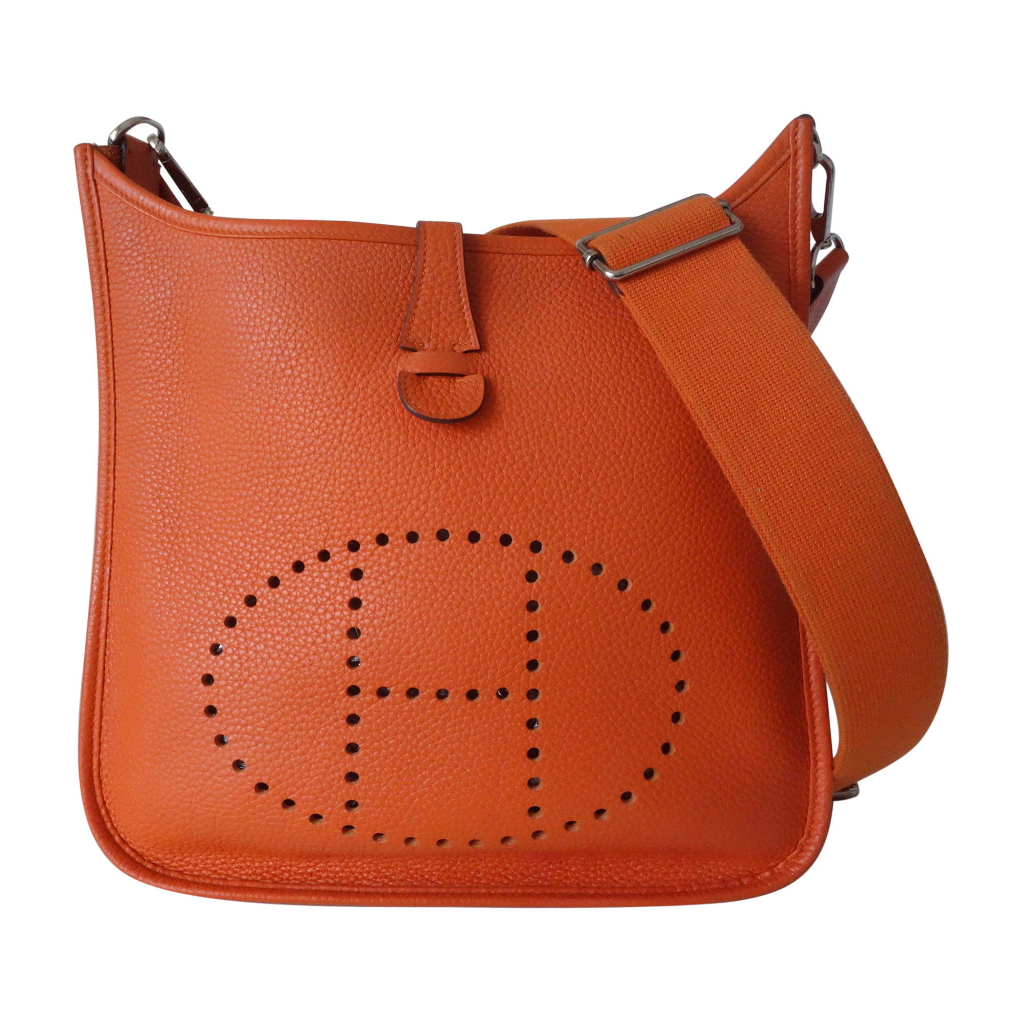 e990e6c35686 ... joli closet d5729 d30ec  real sac à main en cuir hermÈs evelyne orange  472fc 1c6df
