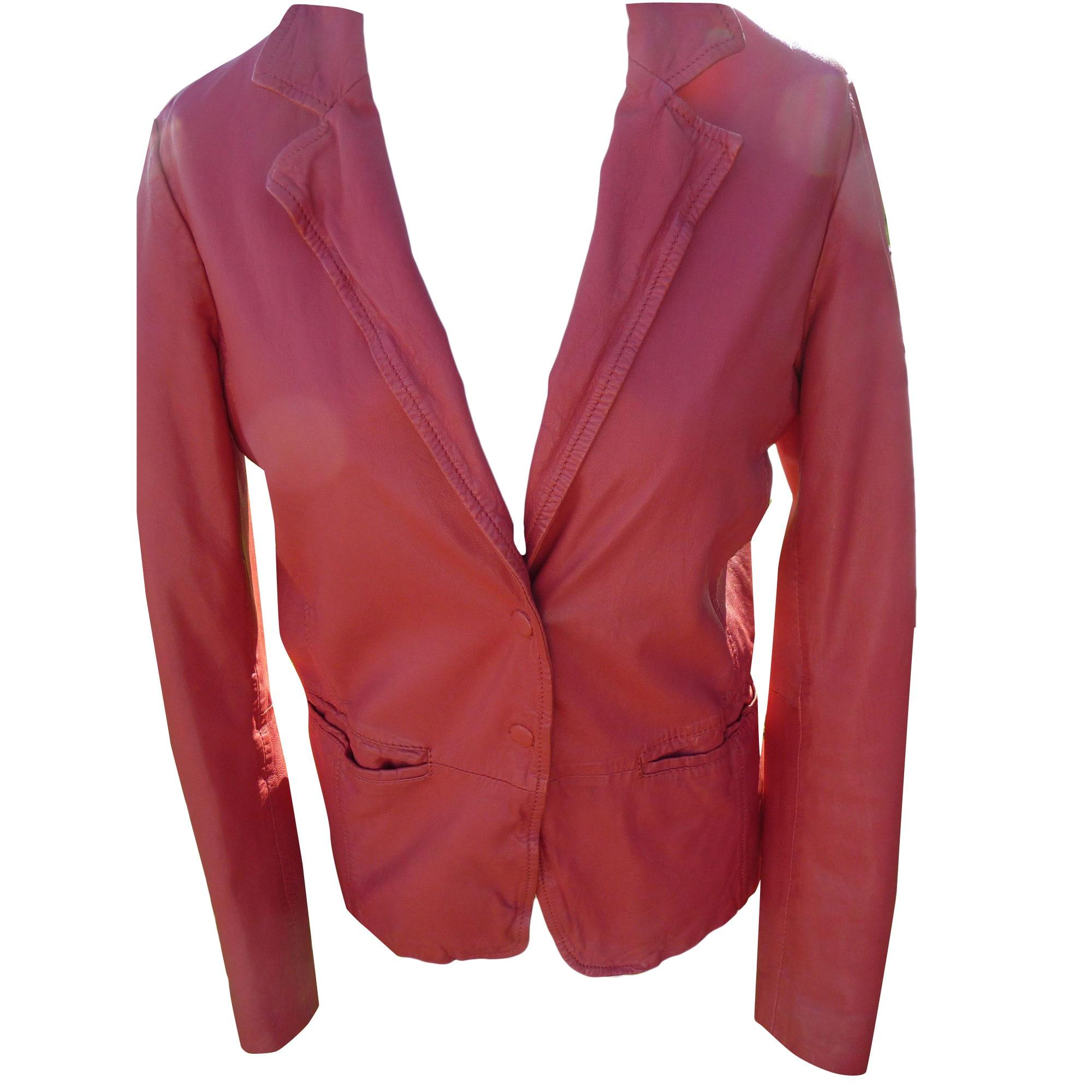 Veste cuir rose fushia