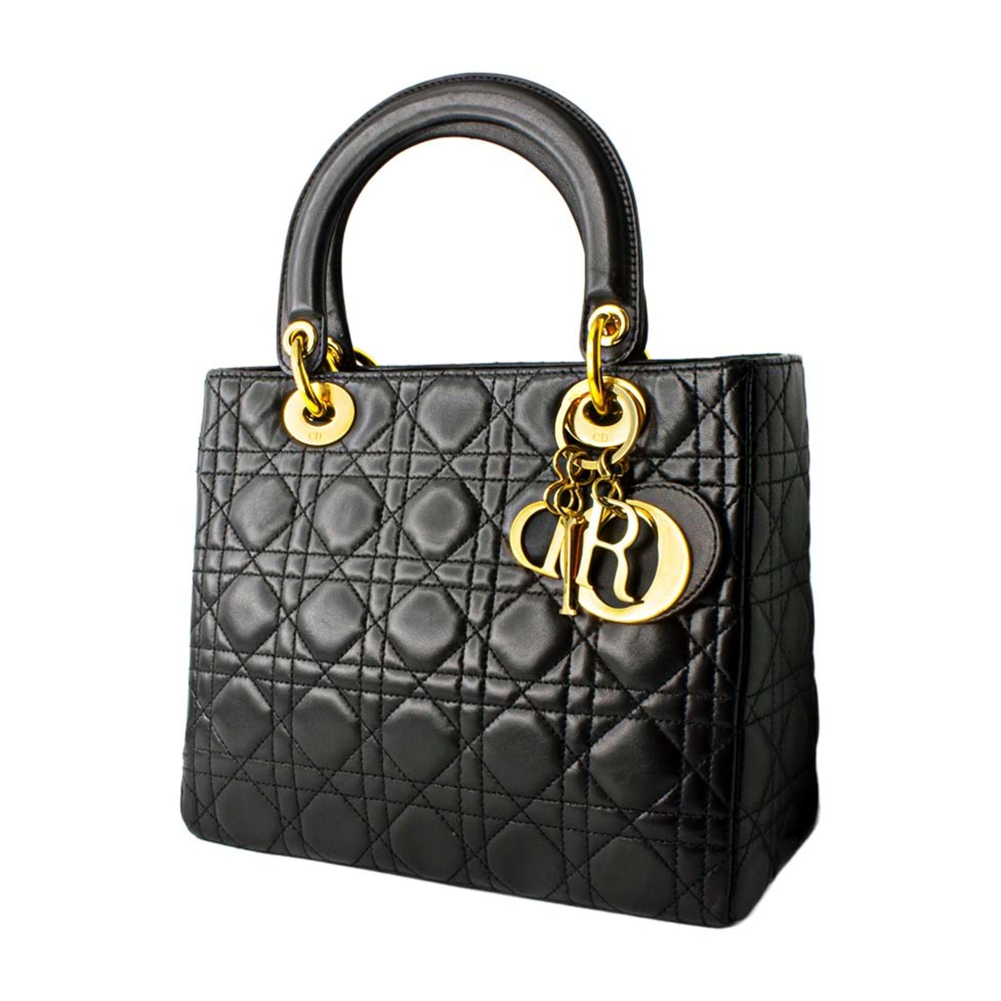 2858ce4caa Sac à main en cuir DIOR lady dior noir - 8049508