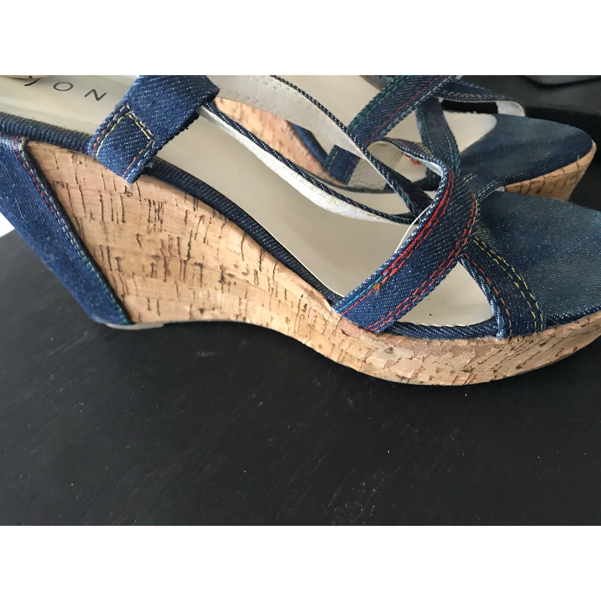 Sandales compensées JONAK 38 bleu 8051237