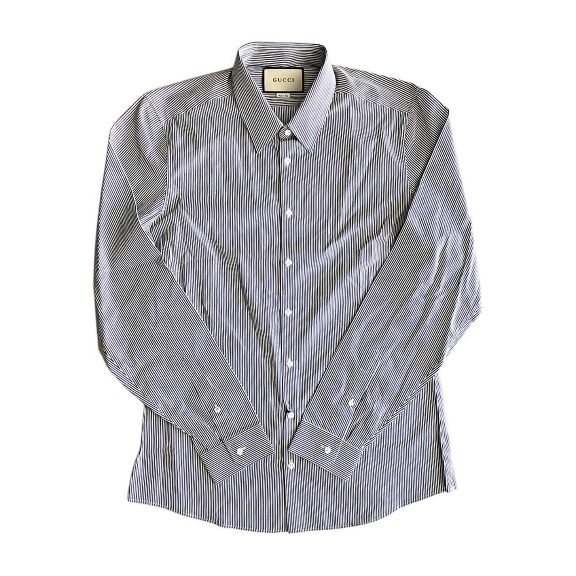 Chemise GUCCI bleu / blanc rayure