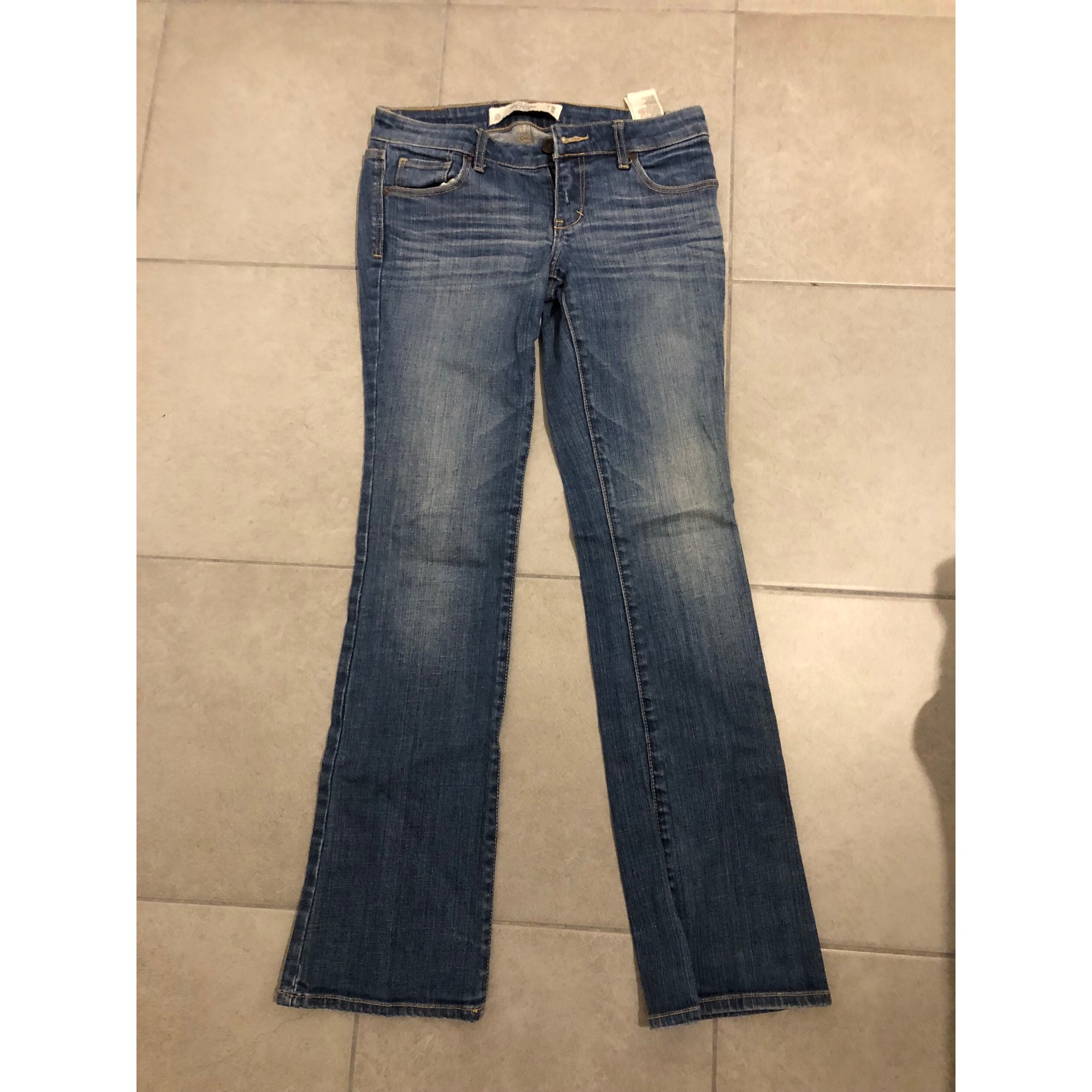 Pantalon droit ABERCROMBIE & FITCH Bleu, bleu marine, bleu turquoise