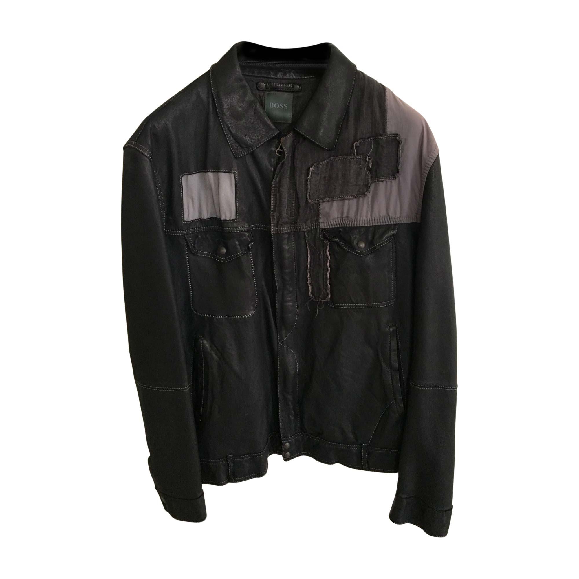 Veste en cuir HUGO BOSS 54 (L) noir - 812