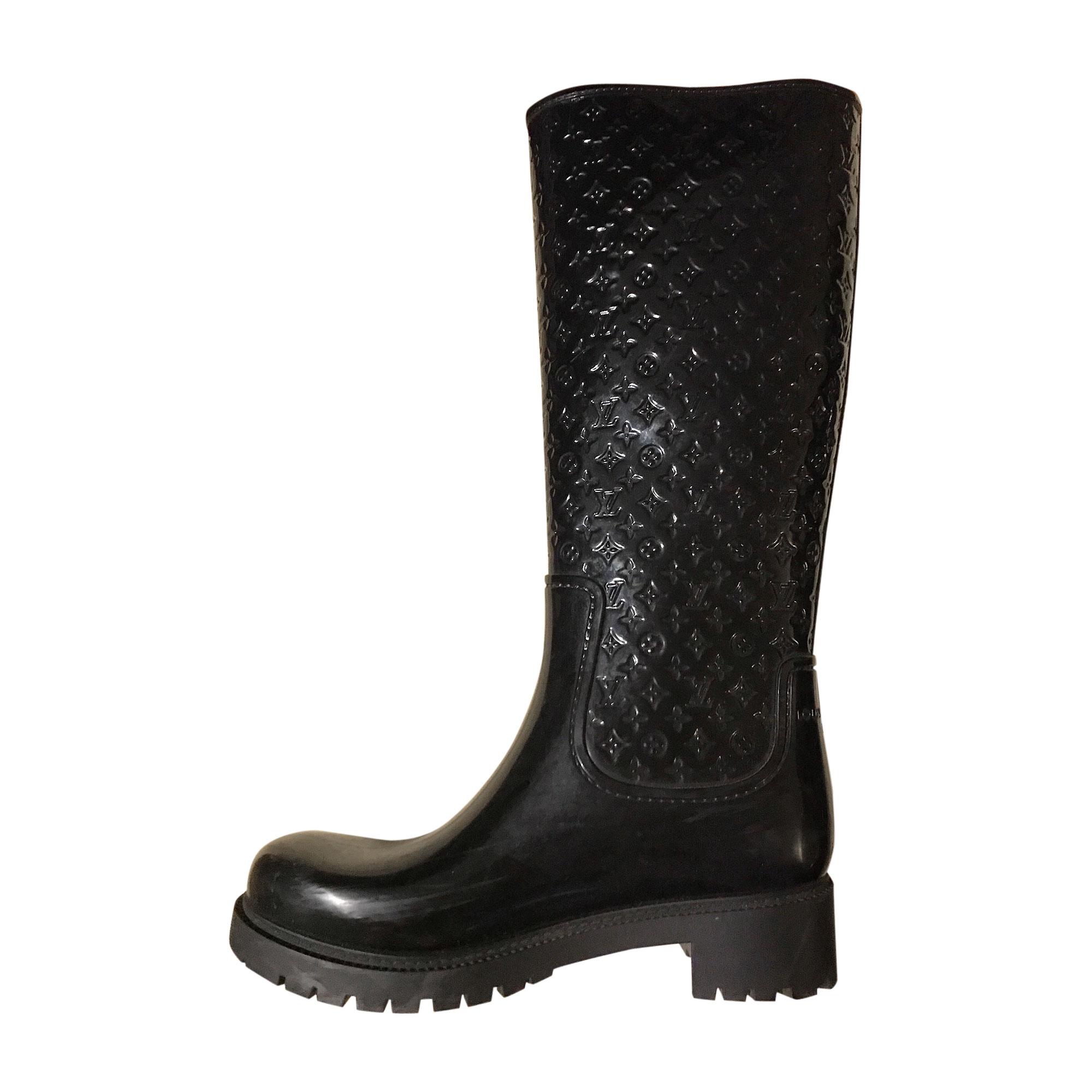 Bottes de pluie LOUIS VUITTON 37 noir vendu par Amelie 2692 - 8129648 fb2fcee9e53