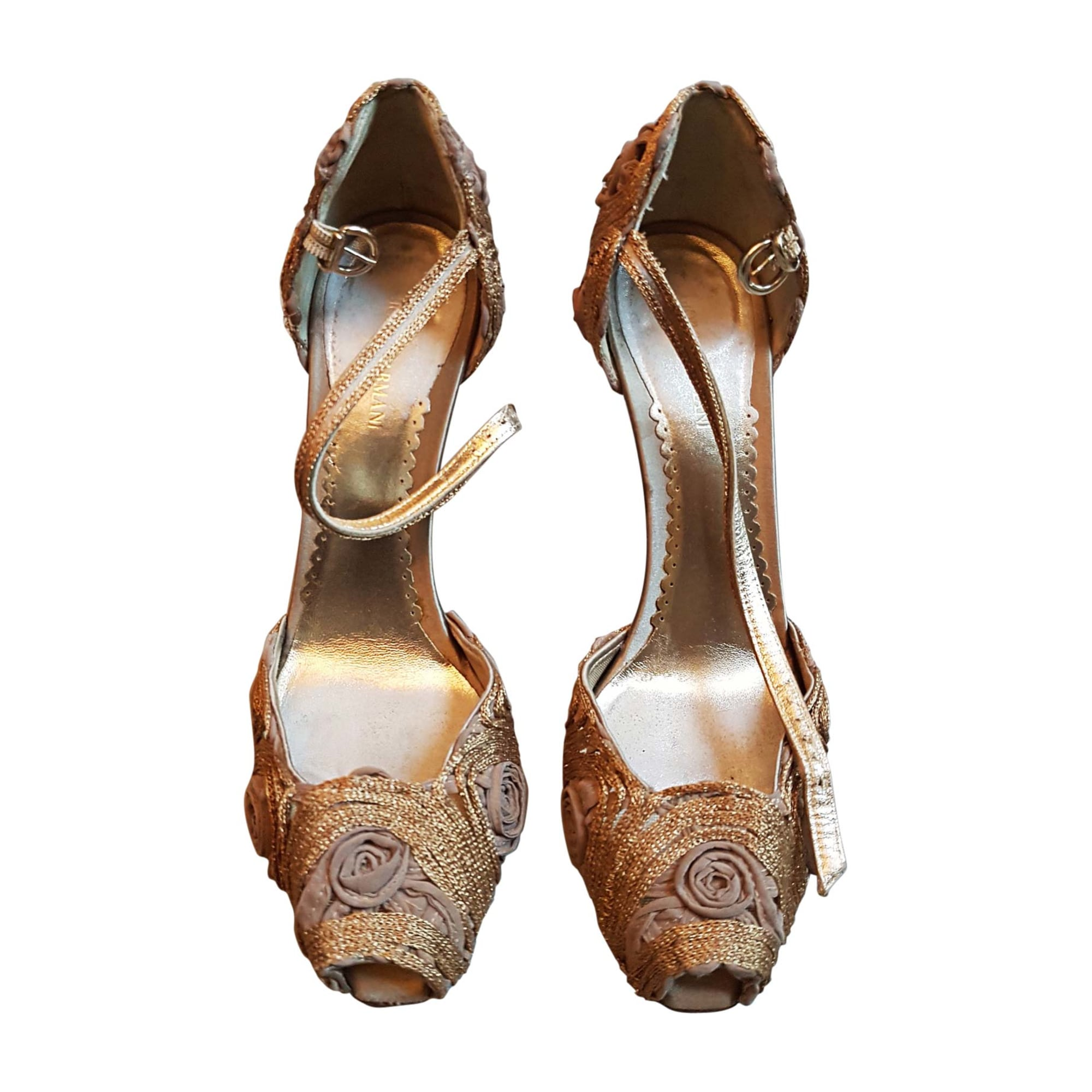 Escarpins à bouts ouverts GIORGIO ARMANI Doré, bronze, cuivre