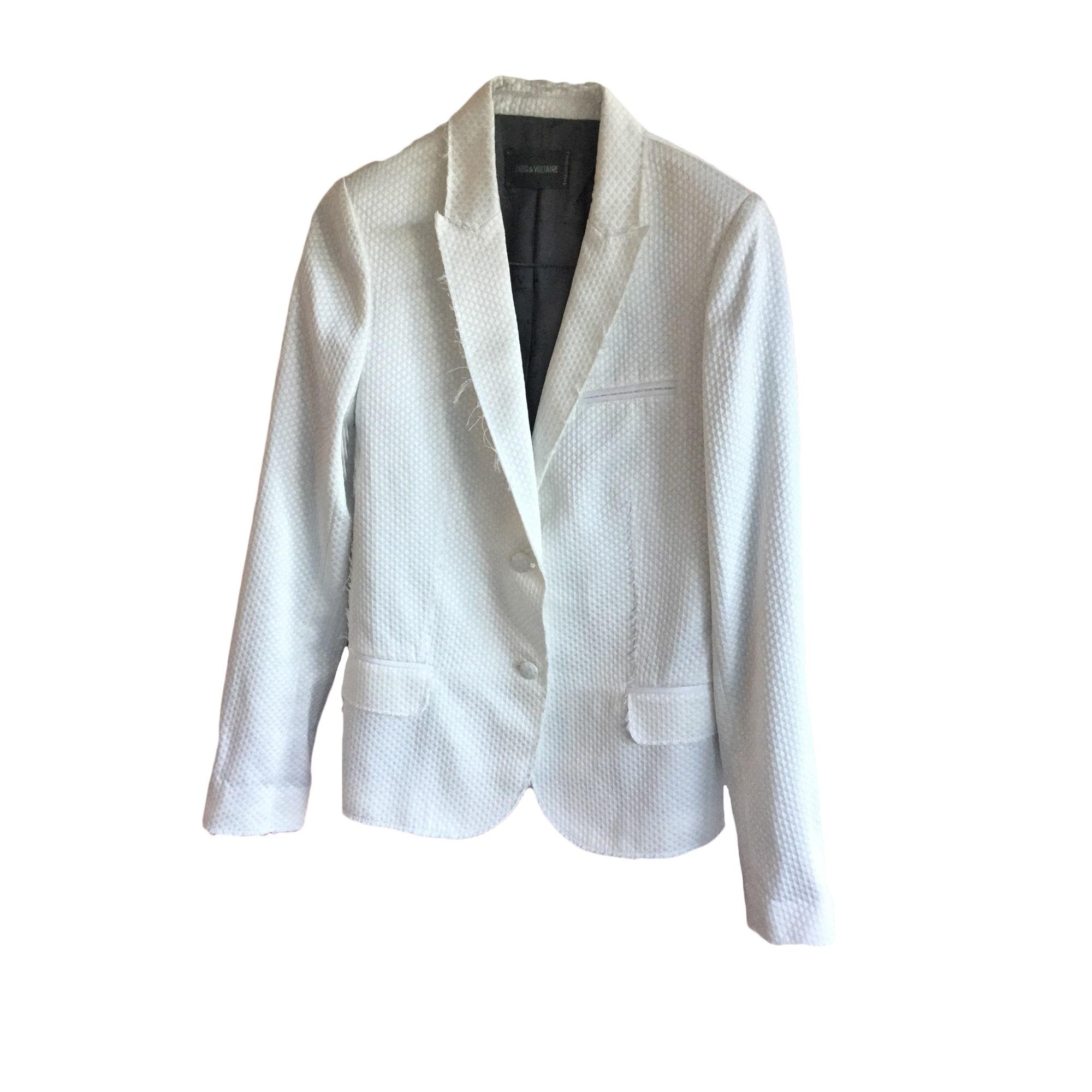 Veste en jeans col blanc