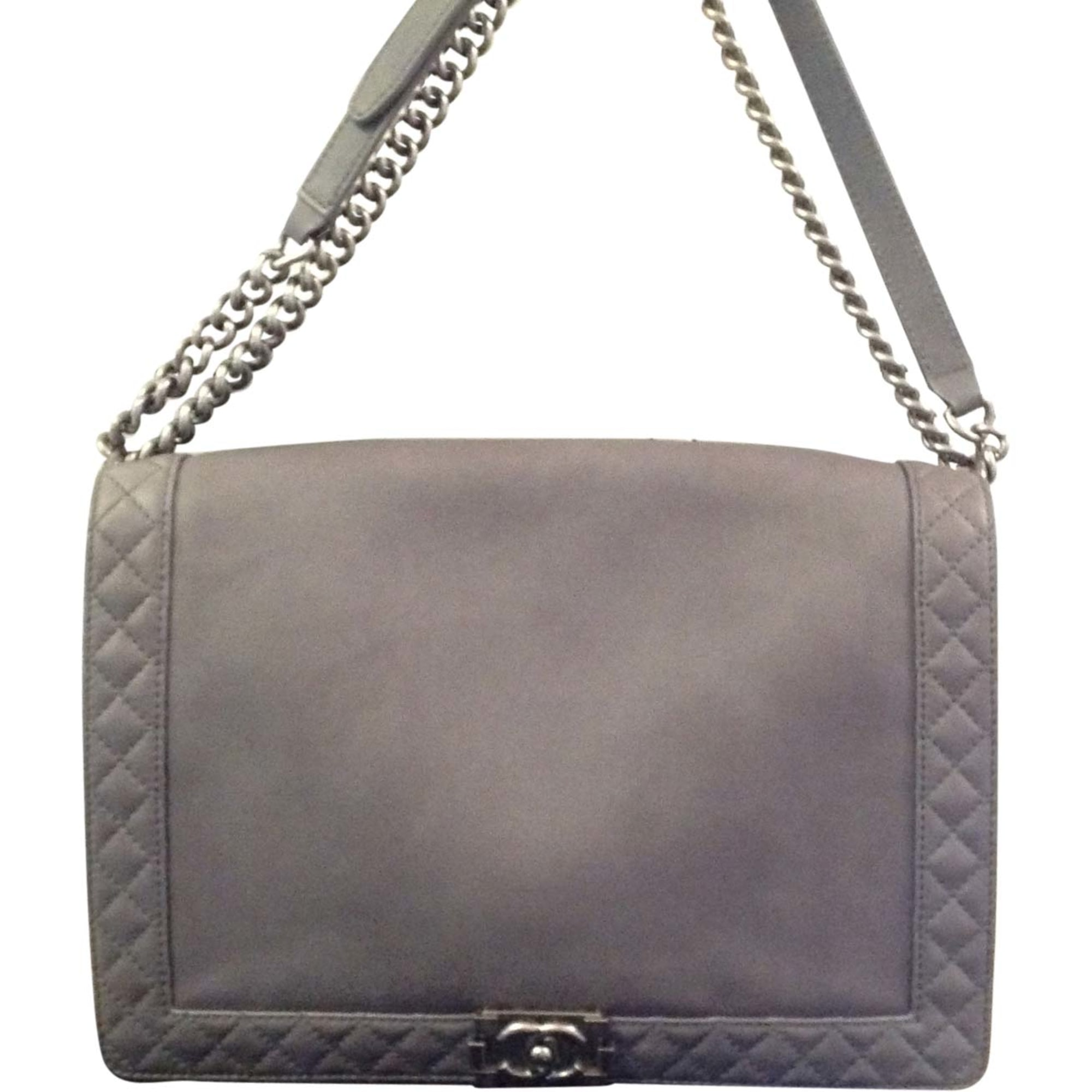 Sac à main en cuir CHANEL Boy Gris, anthracite