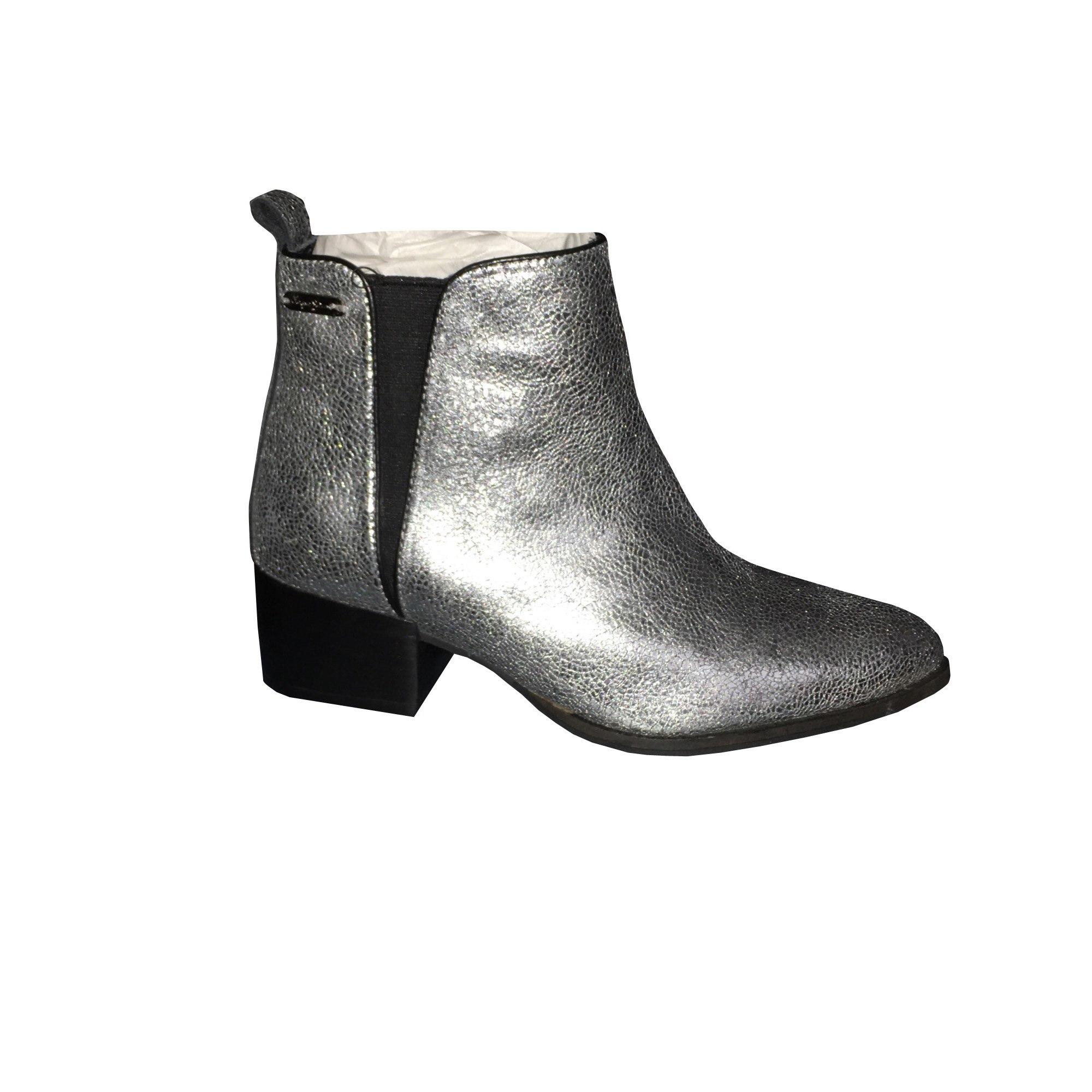 Boots 37 8258421 Pepe Plates amp; Low Jeans Argenté Bottines EqY8vwx