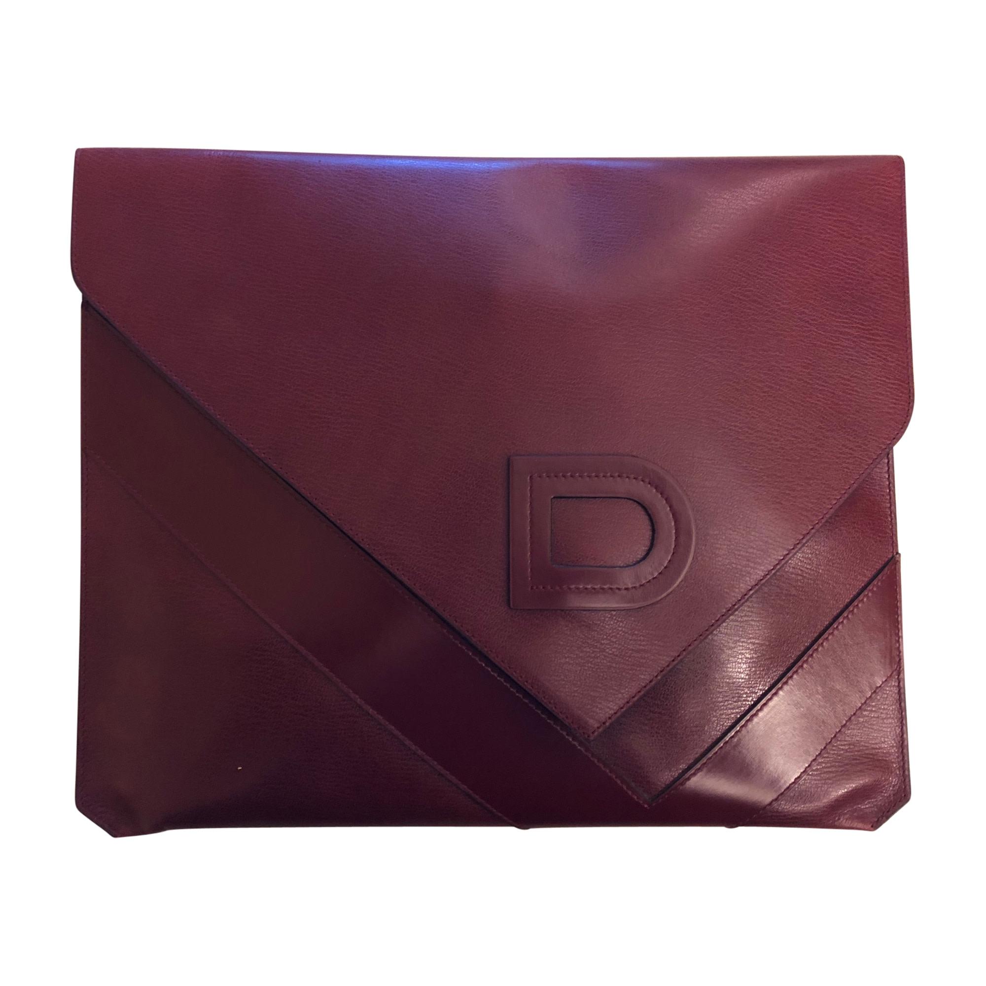 Sac pochette en cuir DELVAUX cuir rouge