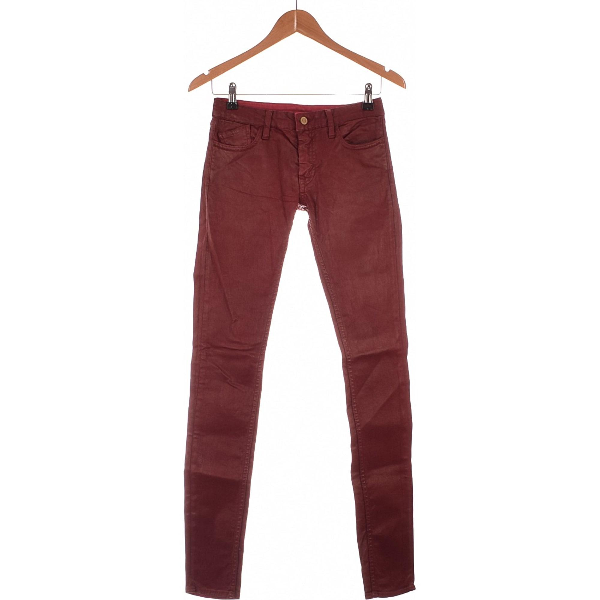 f1b2a5669f Pantalon slim, cigarette LE TEMPS DES CERISES 34 (XS, T0) rouge ...