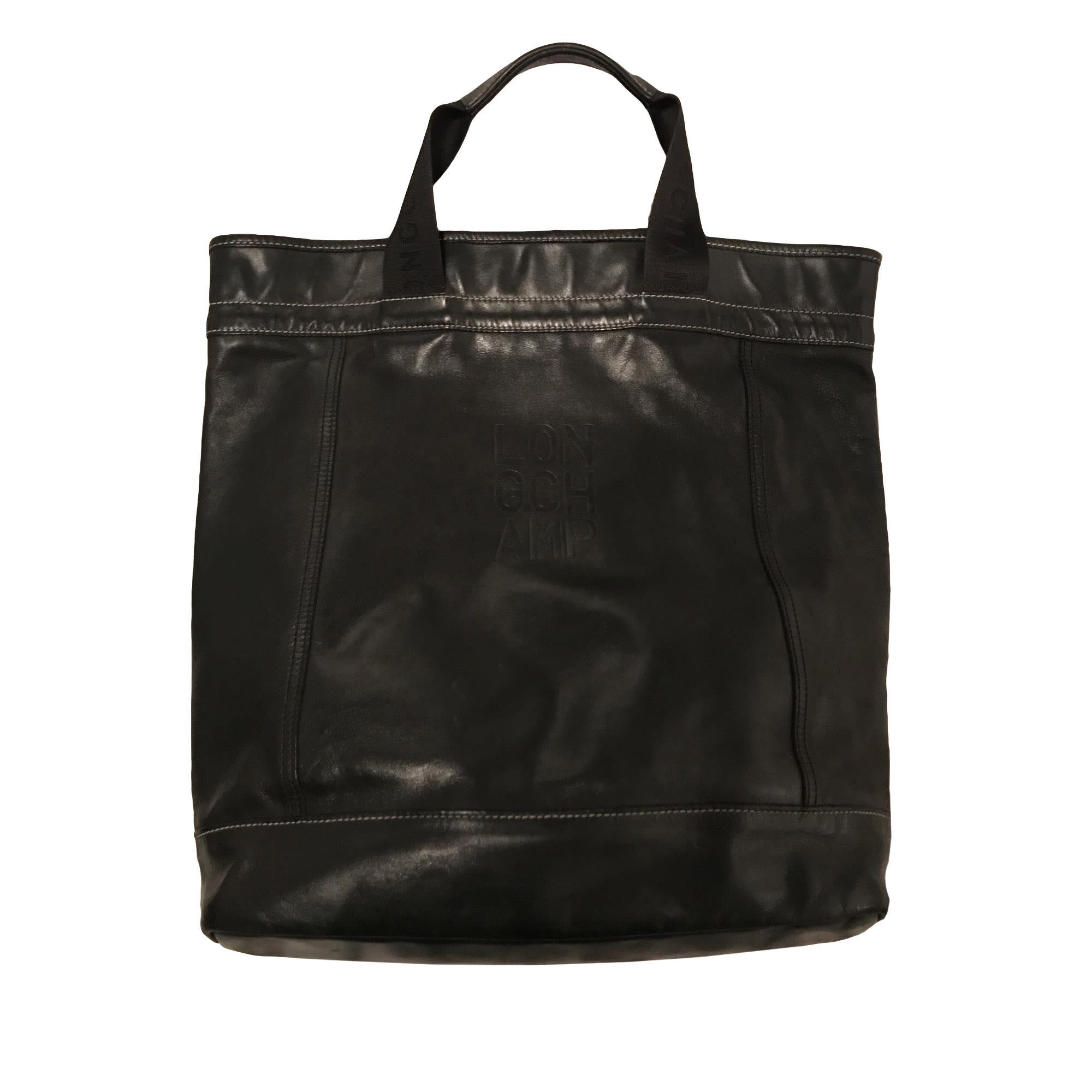 En Main Sac À Noir Cuir Longchamp T4qxPqHw