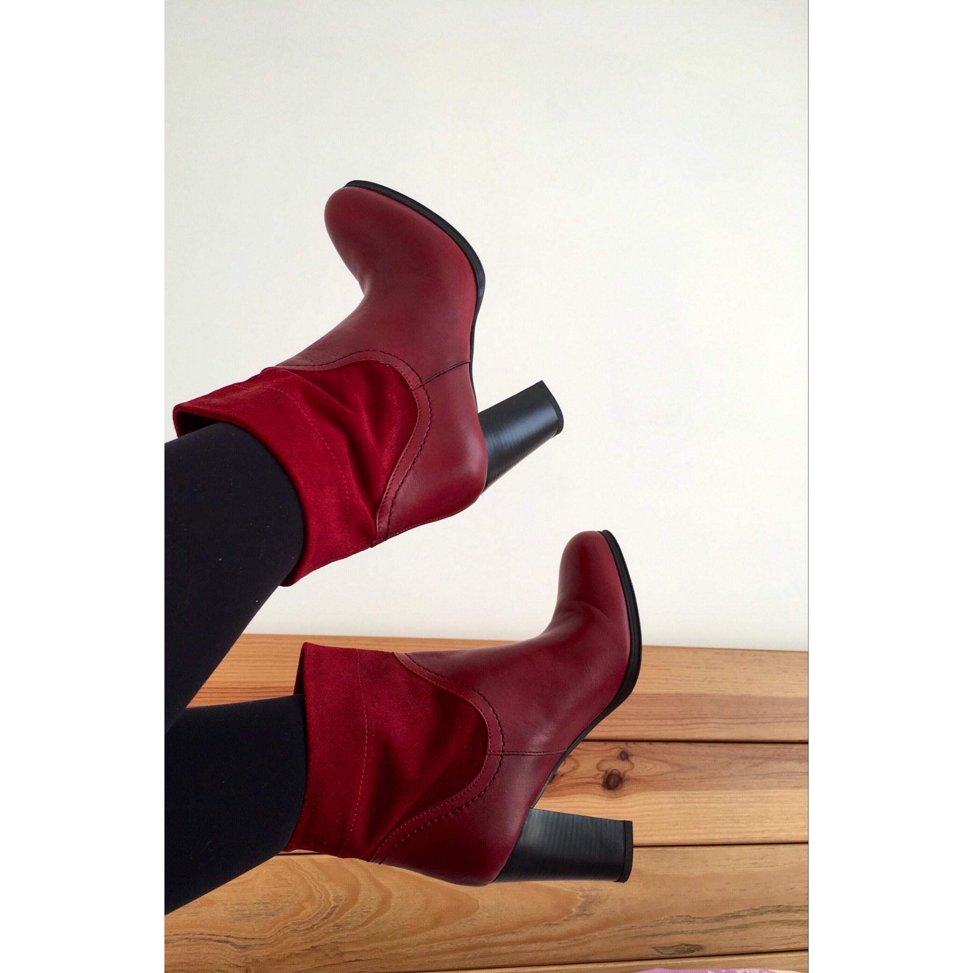 b9321cb0b21 Bottines   low boots à talons ANDRÉ 37 rouge - 8303219