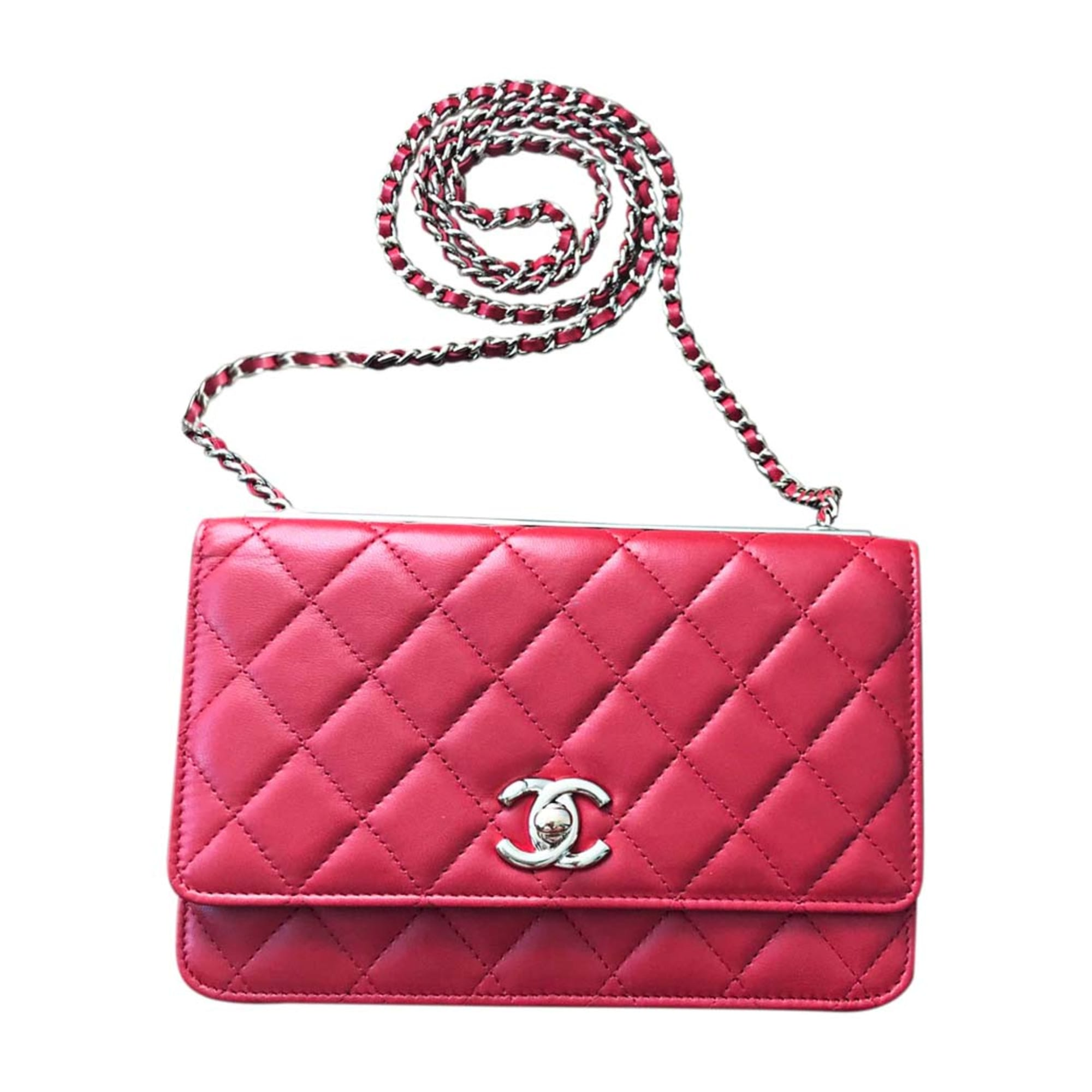 Leather Handbag CHANEL Wallet-On-Chain Red, burgundy
