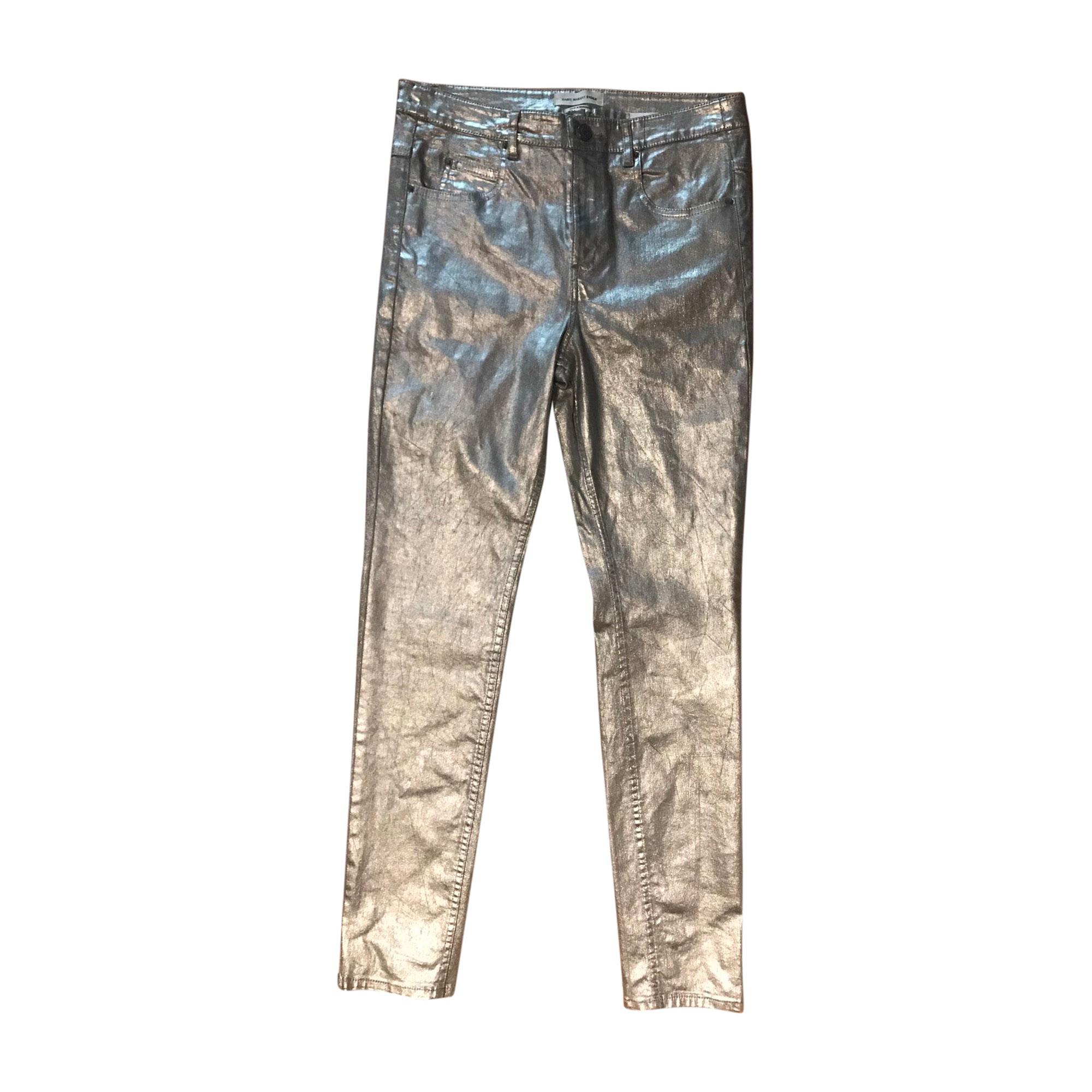 Pantalon slim, cigarette ISABEL MARANT Argenté, acier