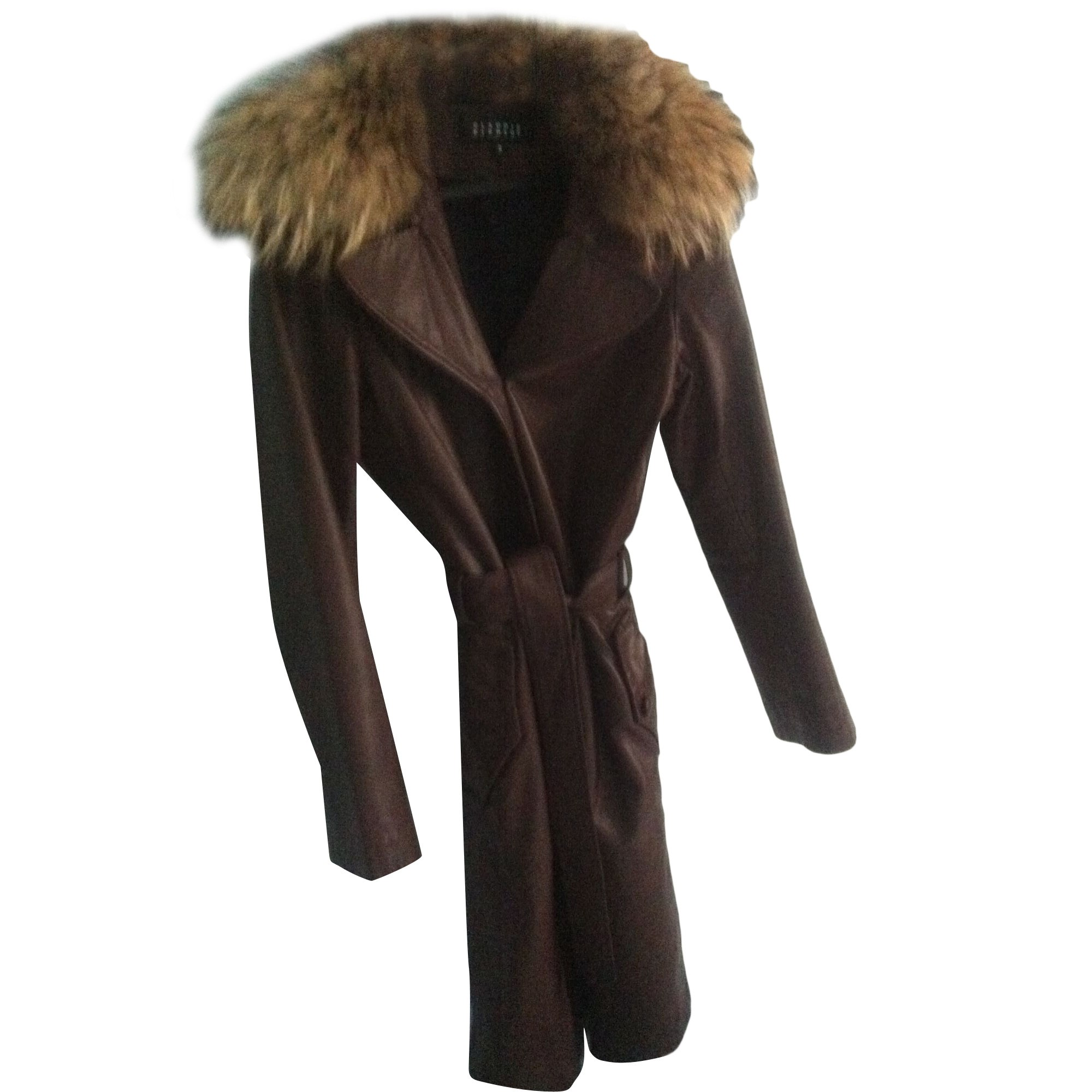 Manteau en cuir CLAUDIE PIERLOT Marron