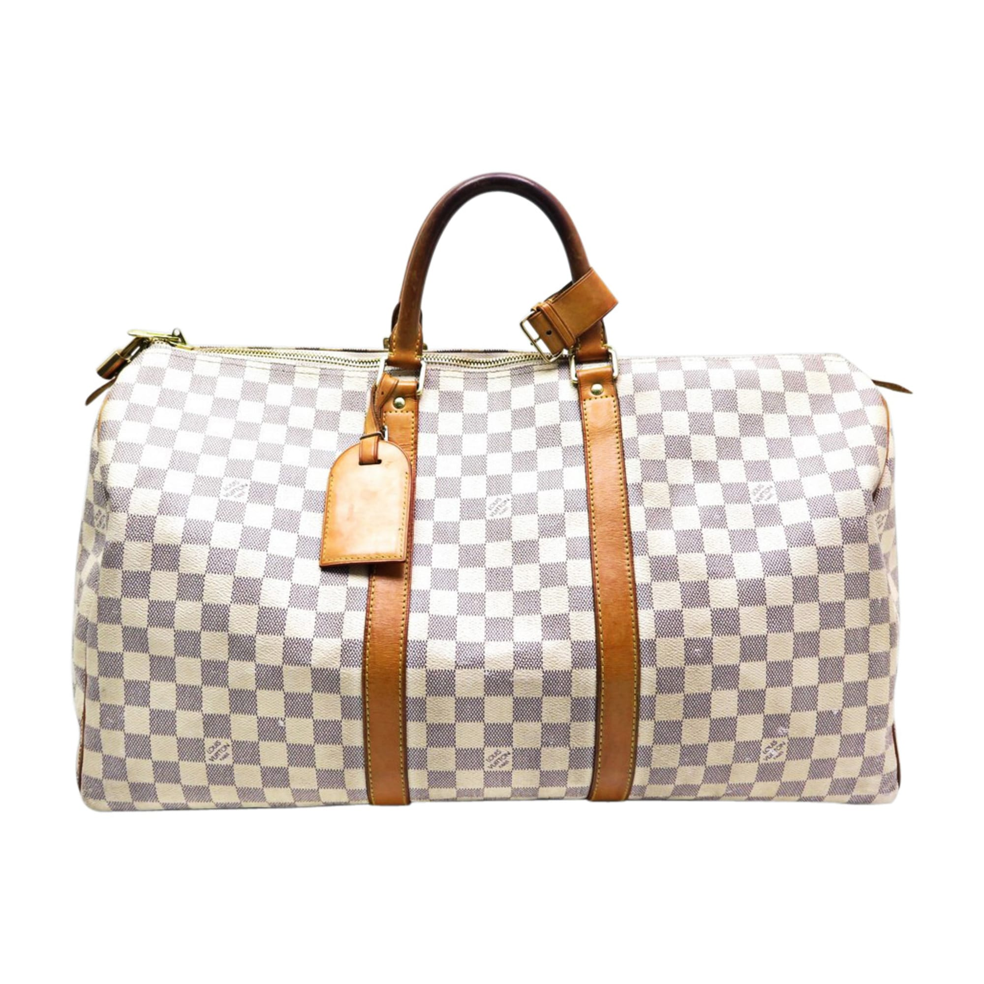 19cd5b042d43 Sac XL en cuir LOUIS VUITTON Keepall Blanc, blanc cassé, écru